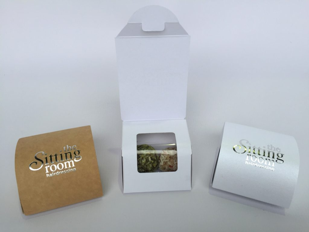 Kraft, White & Pearlescent Foiled Wrap around Lid Pillow Box with Window