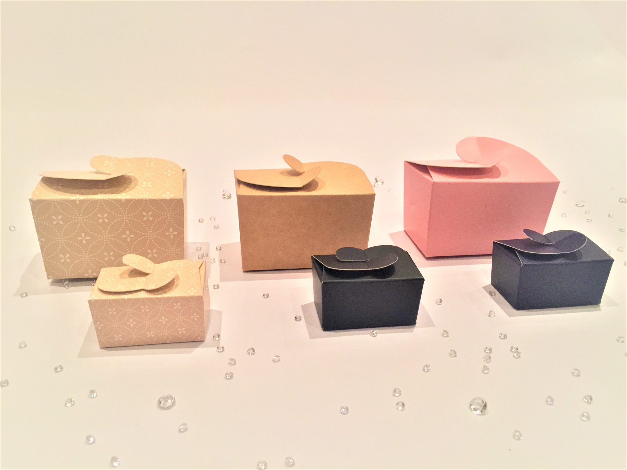 Ballotin Boxes Cream Patterned, Kraft, Pink, Black & Purple