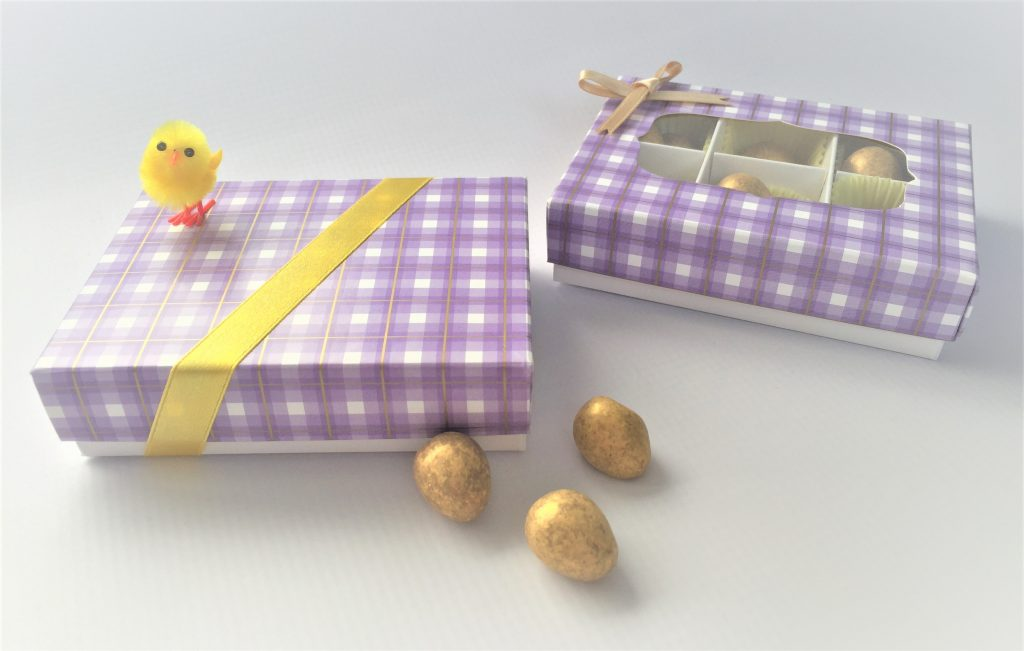 Lilac Tartan Windowed & Non-Windowed Base & Lid Boxes
