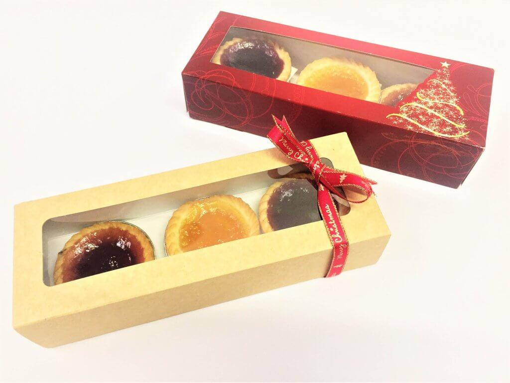 Mince Pie Boxes Red Christmas Print & Kraft