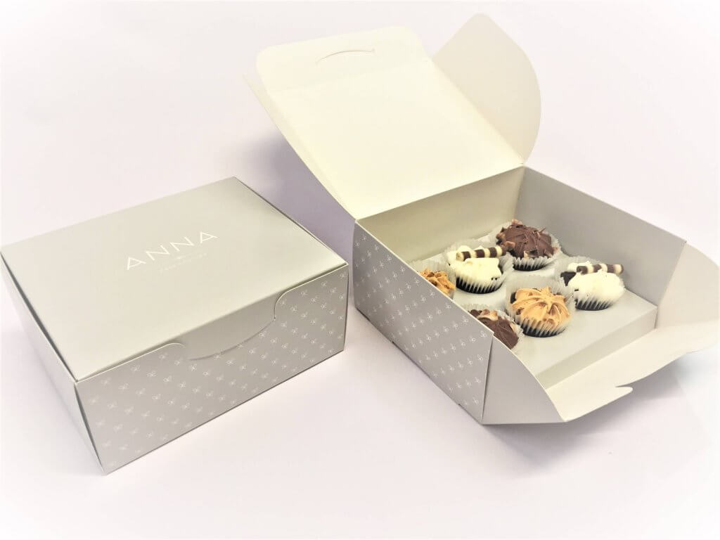 Bespoke Print Hand Erected Front loading 6 mini cup cake box with insert