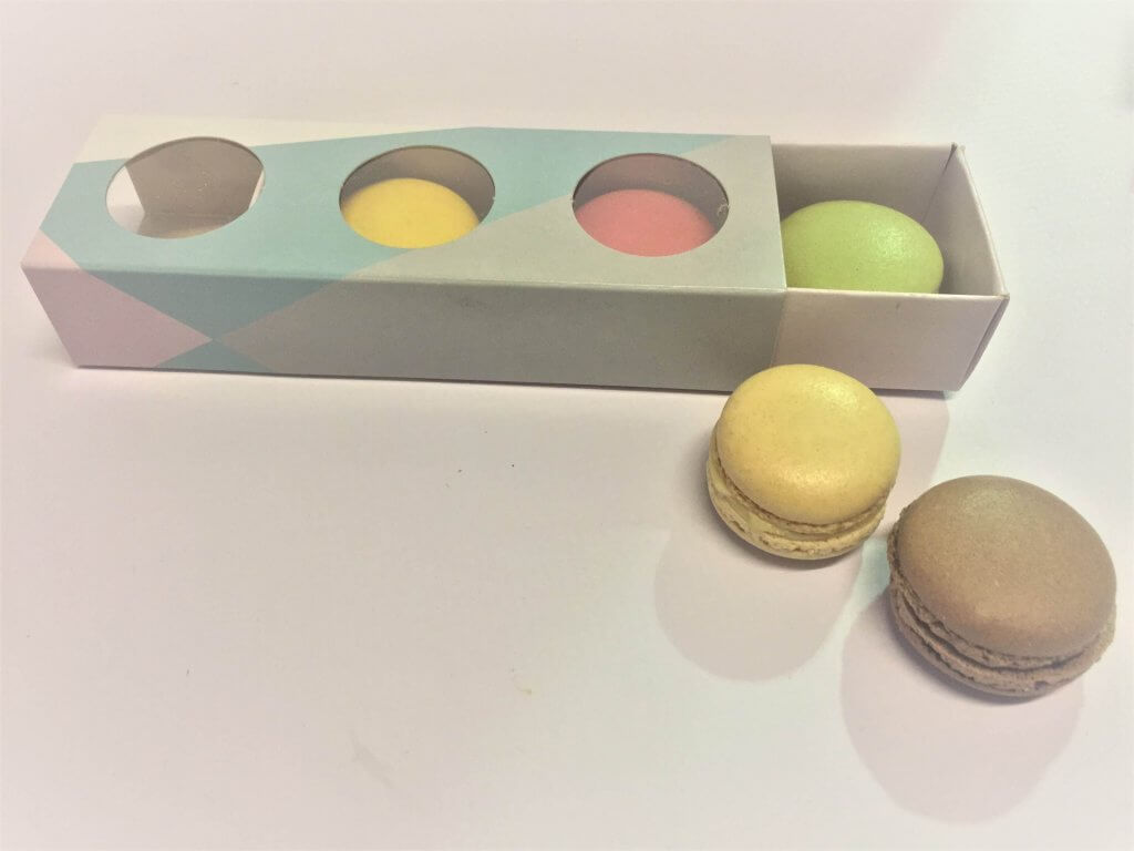 3 Pack Generic Geometric Print Windowed Macaron Box