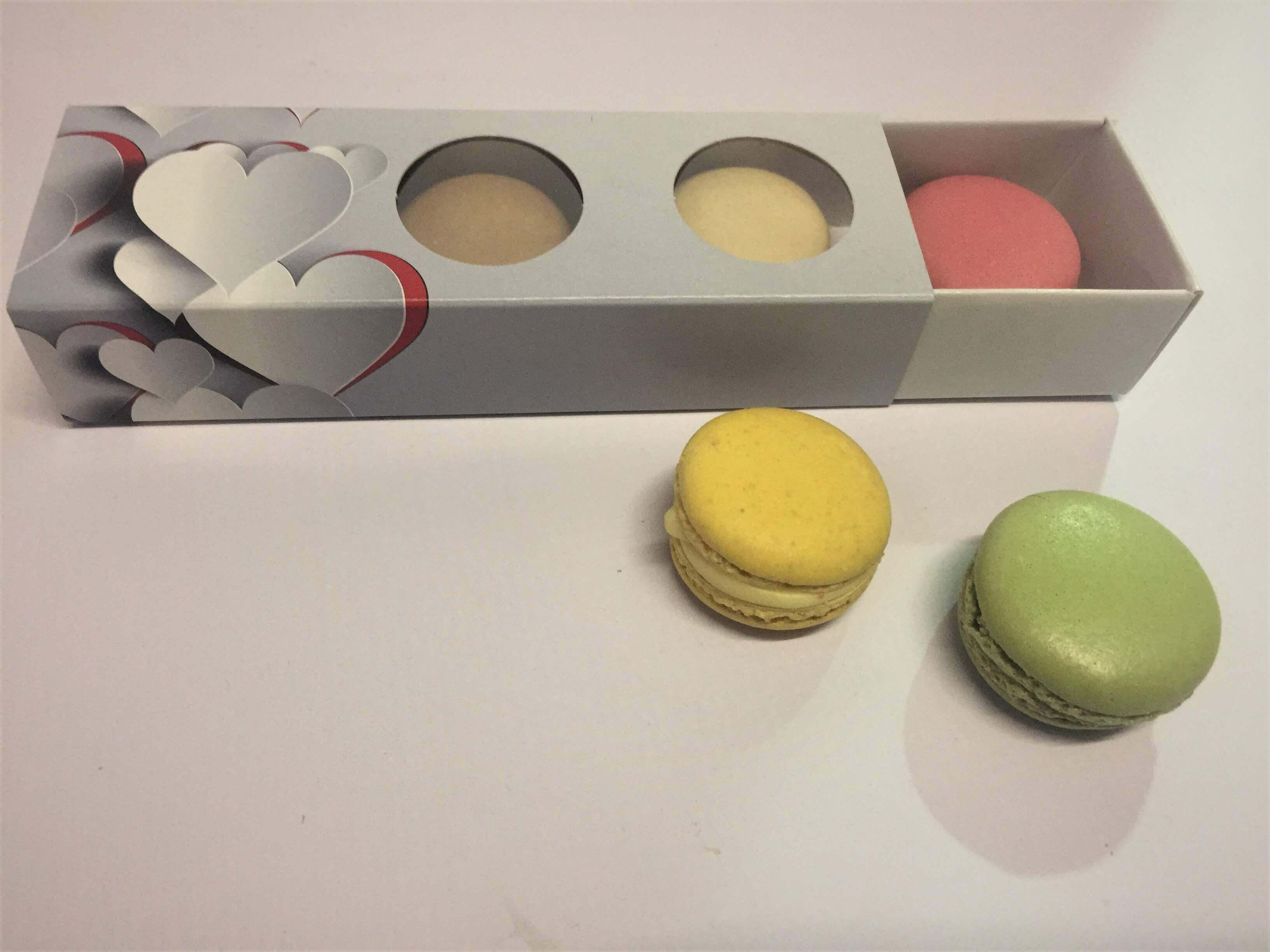 3 Pack Macaron Slider Compact Box with 3D Heart Print Design & Double window