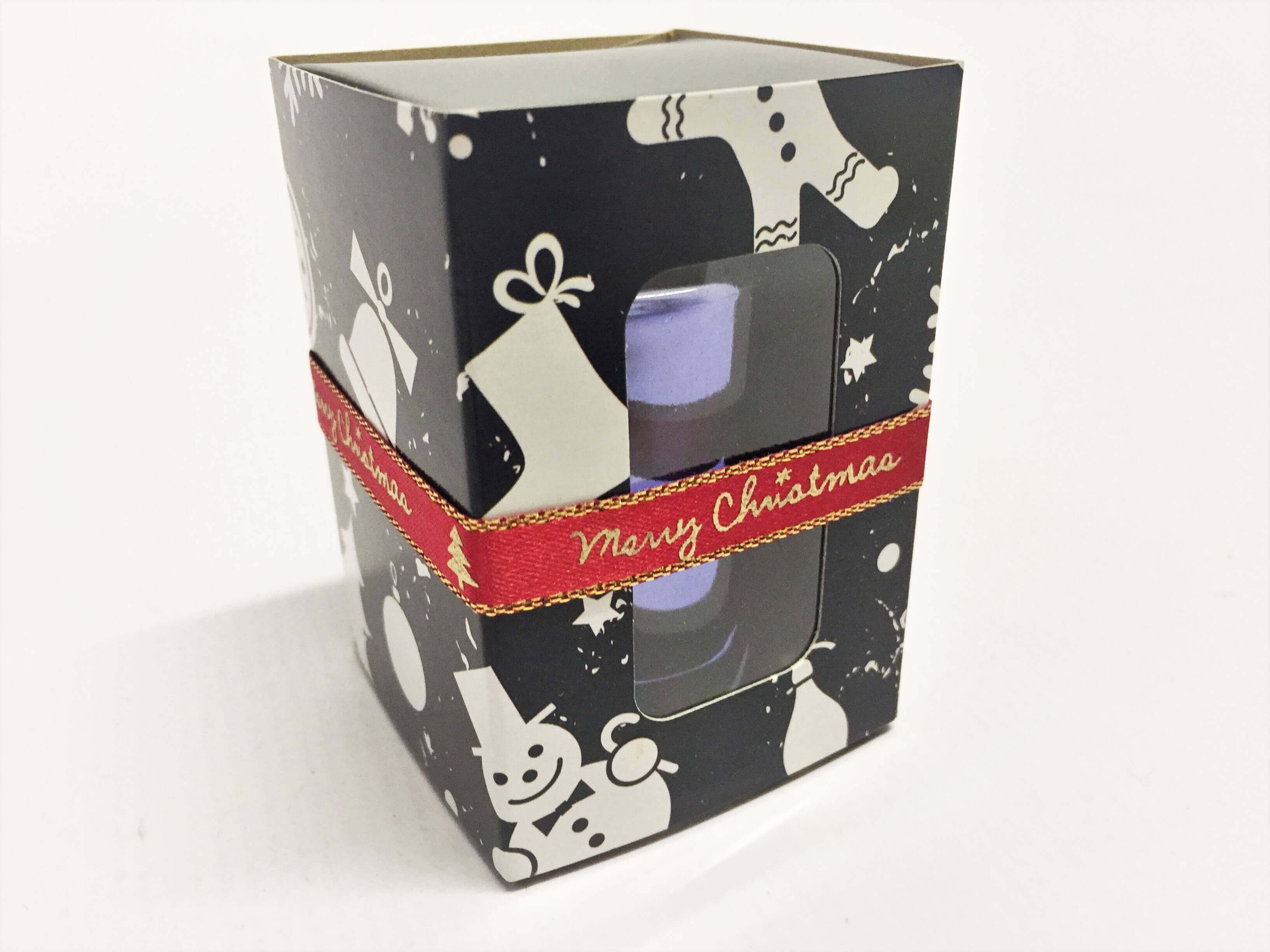 3 Pack Macaron or Candle Slider Box with Xmas Print, windowed