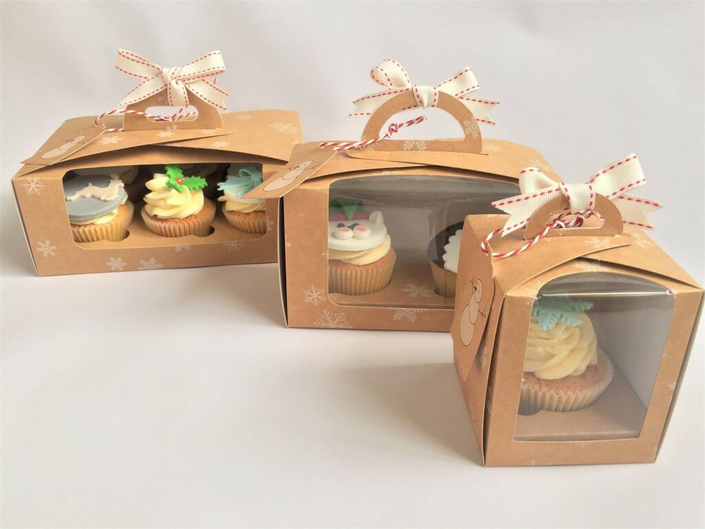 Single, Double & 6 Pack Eco Dome Cup Cake Snowflake Print Boxes