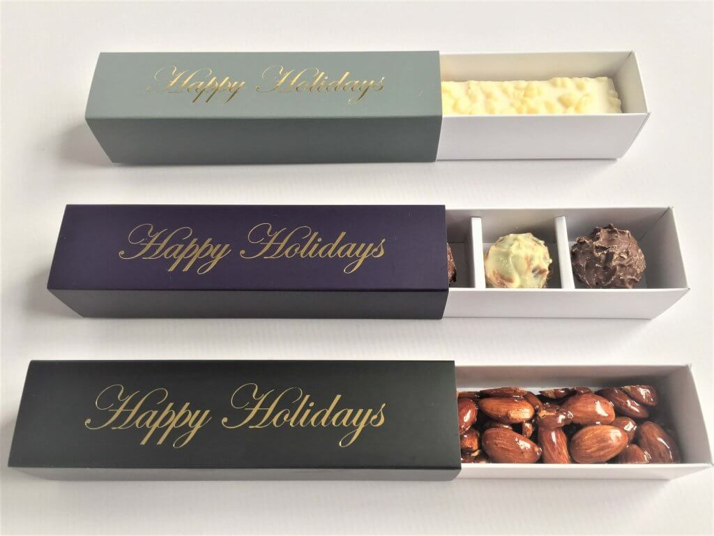 Base & Sleeve 4 Pack Truffle Box, shown with bespoke foiling option, insert available