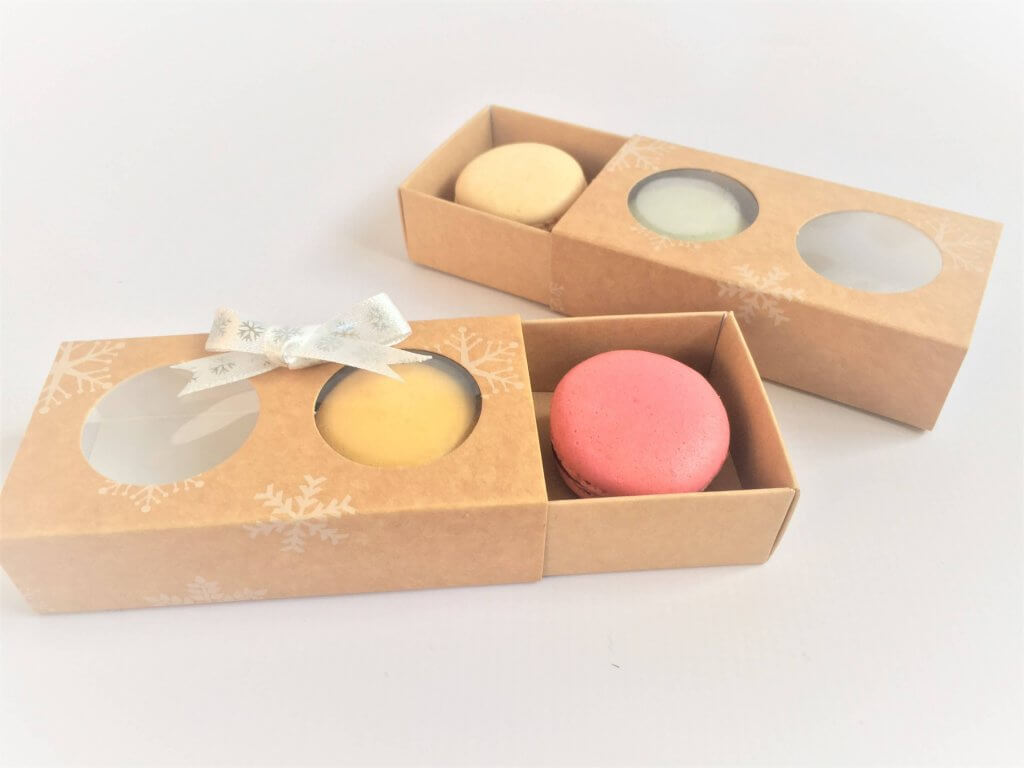 2 Pack Macaron Slider Box with Xmas Print, windowed