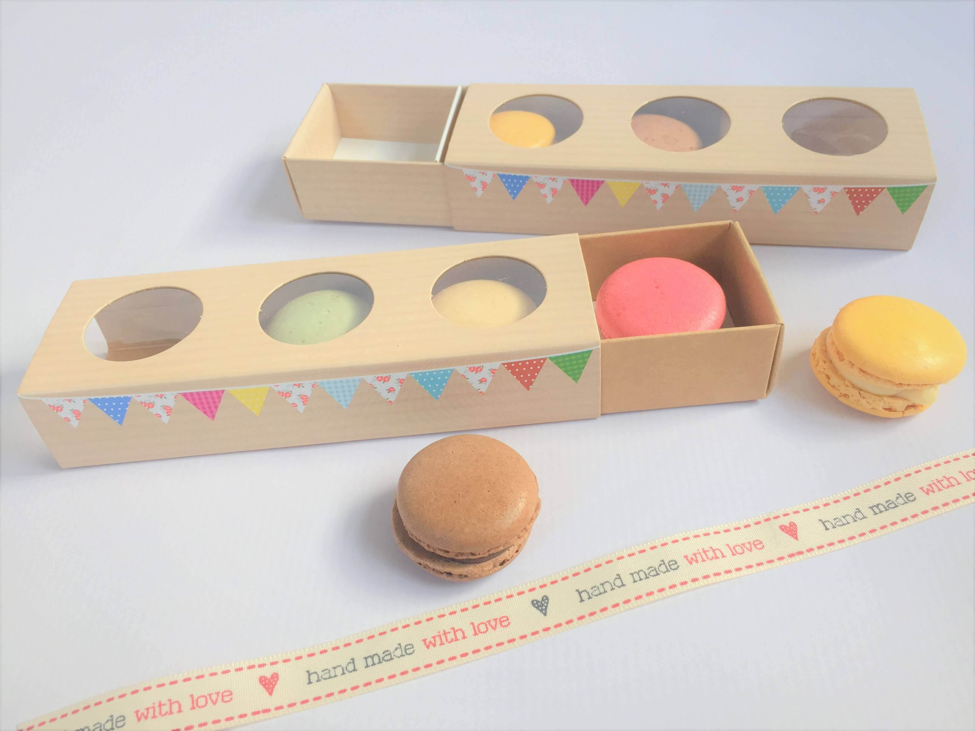3 Pack Macaron Slider Compact Box with Bunting Print & Triple window