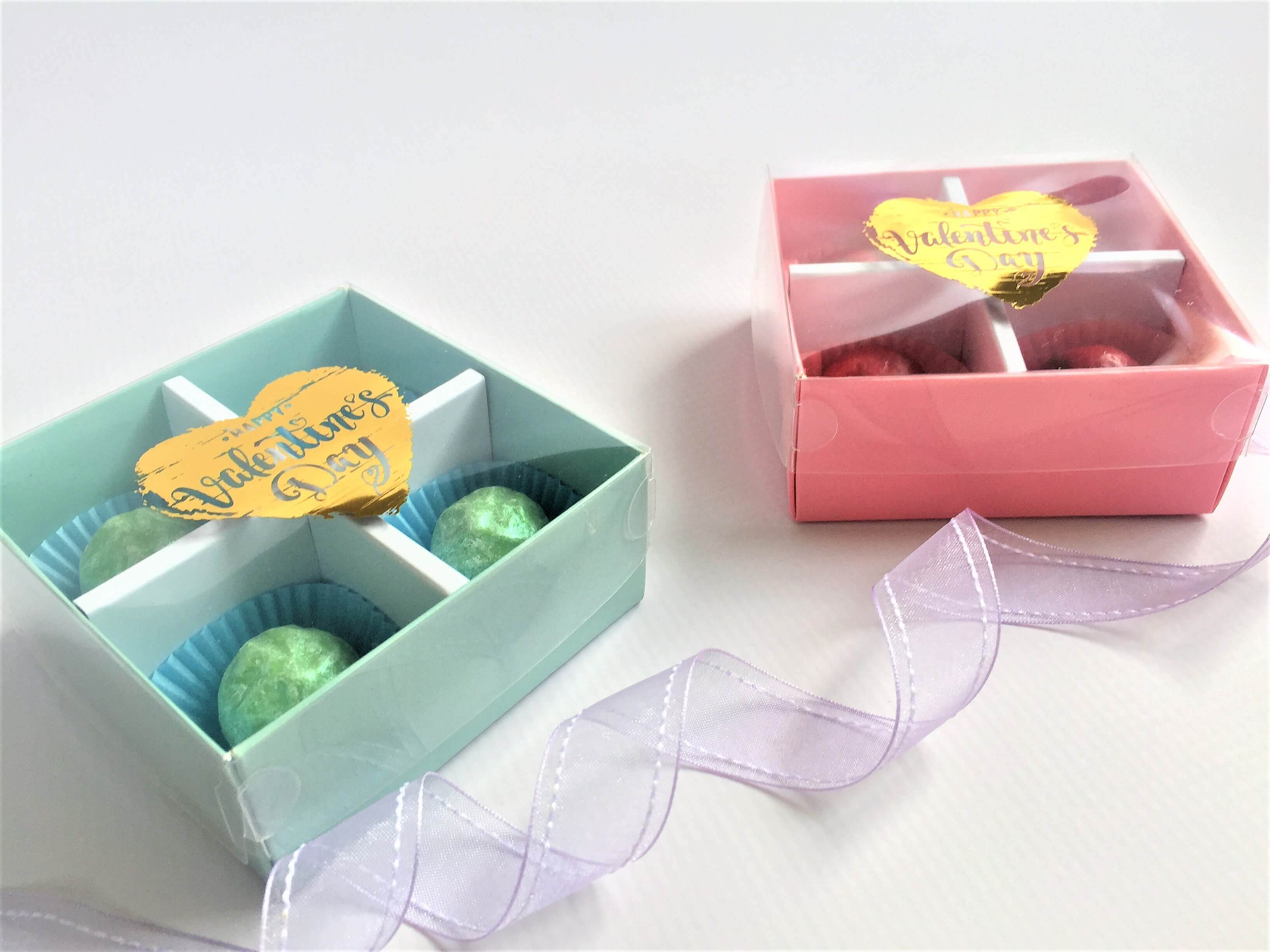 Base & Lid 4 Pack TruffleBox, shown with generic foiling option various colours of Base & Li