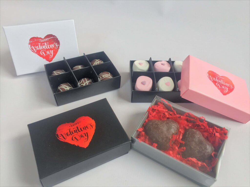 6 Pack Base & Lid Boxes Chocolate / Caandle/ Truffles/ Marshmallows