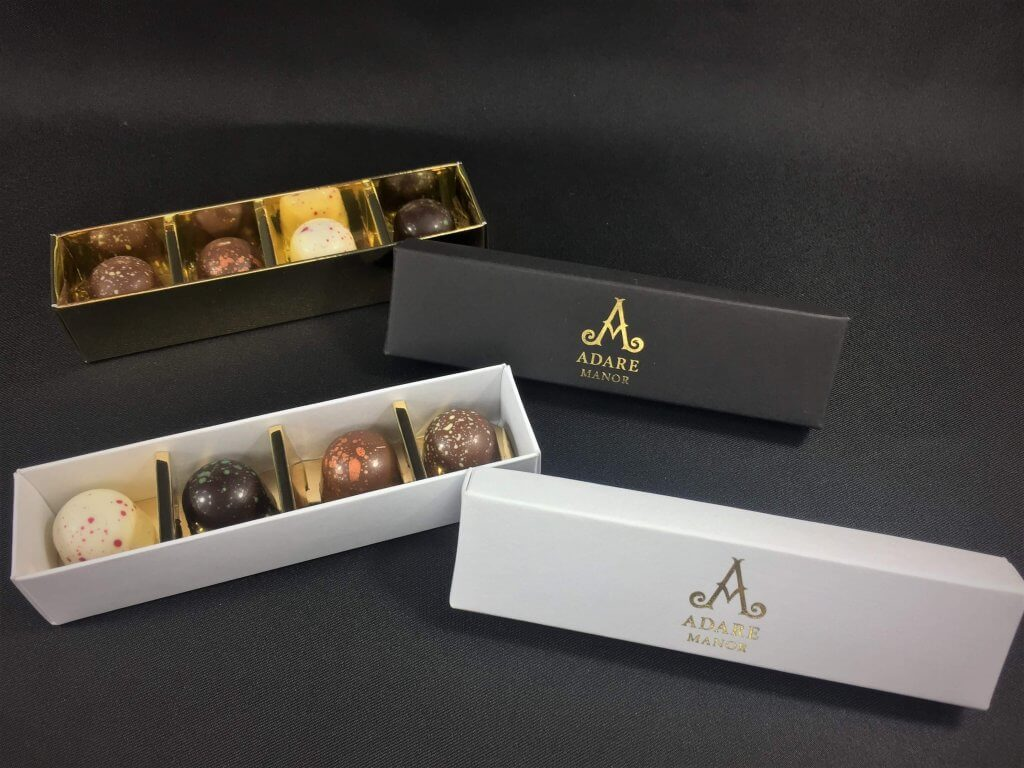 Base & Lid 4 Pack Truffle Box, shown with bespoke foiling option Various colours of Base & L