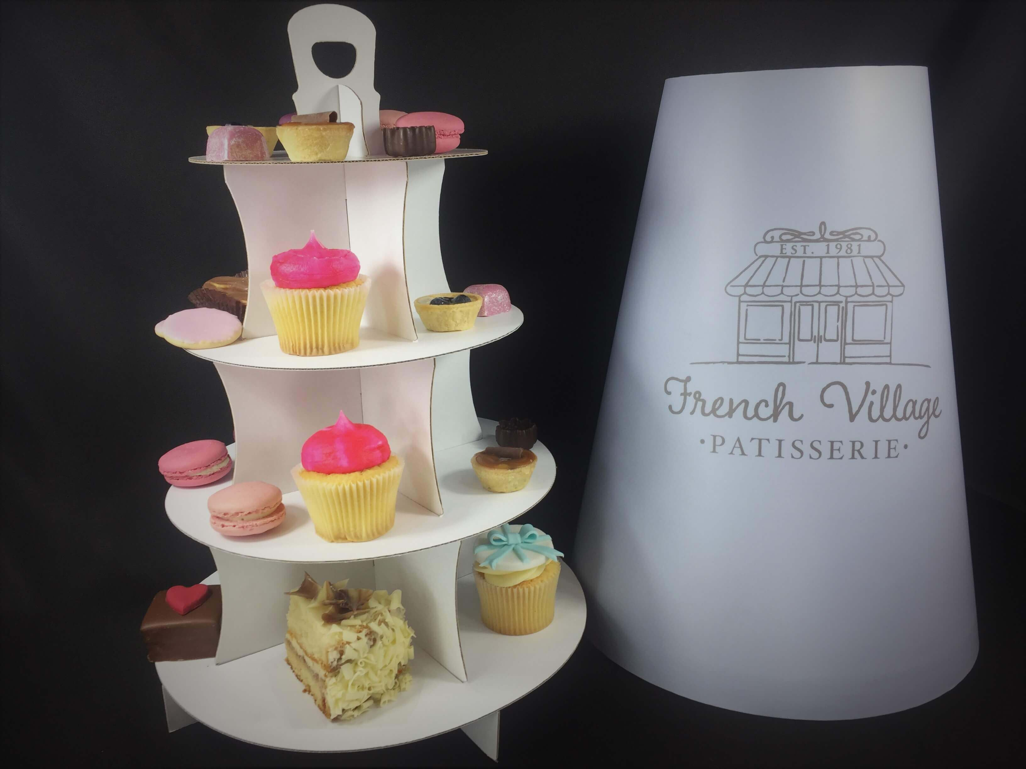 4 Tier Afternoon Tea Take Home Caddy with Bespoke Printed Hood