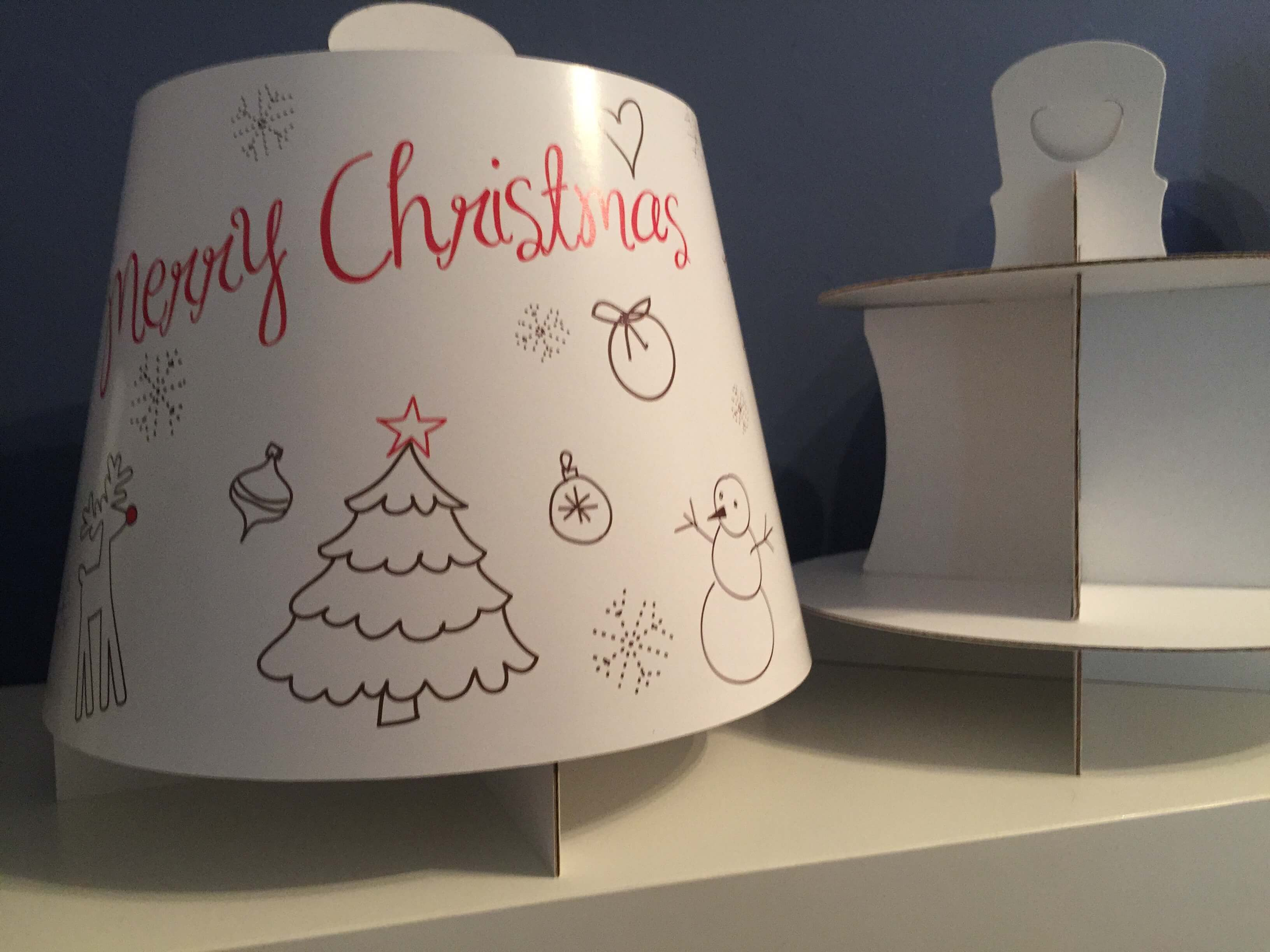Christmas Print (Colour In) 3 Tier Afternoon Tea Caddy