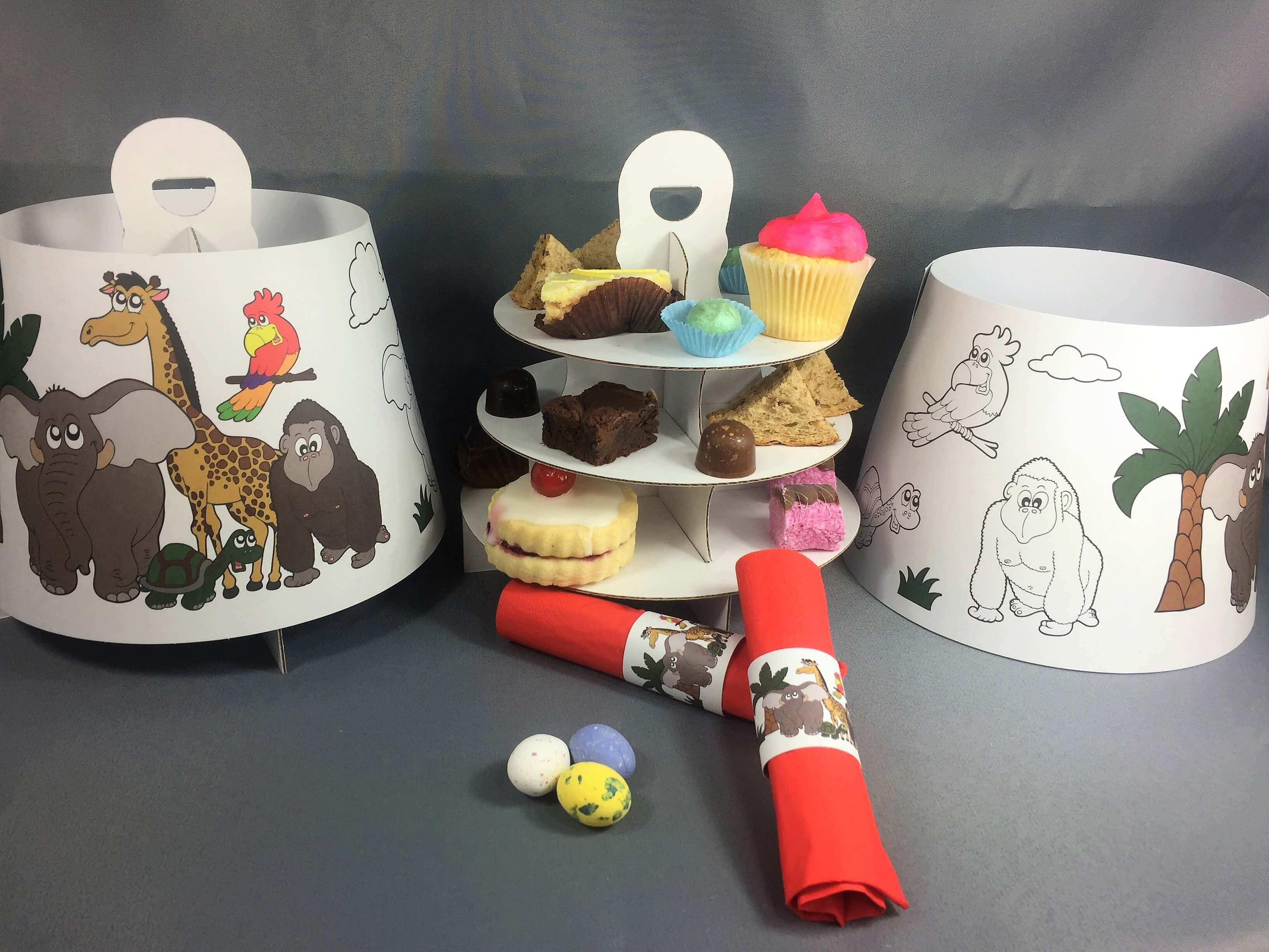 Zoo Themed 3 Tier Afternoon Take Home Caddy