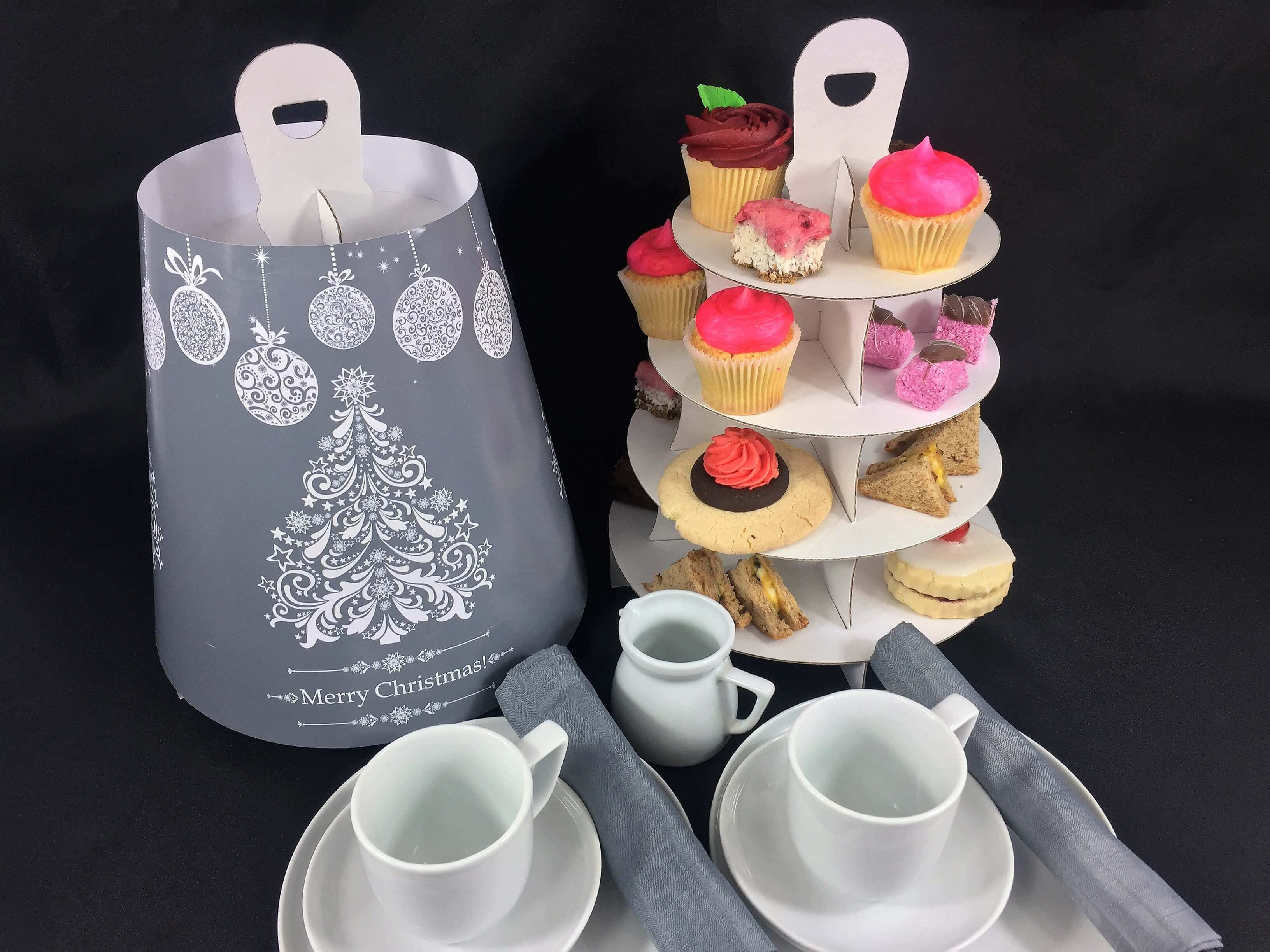 Christmas Themed 4 Tier Afternoon Take Home Caddy
