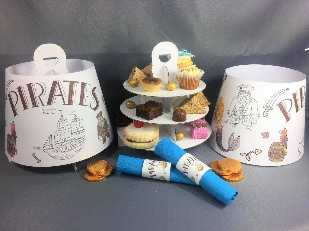 Pirate Themed 3 Tier Afternoon Take Home Caddy