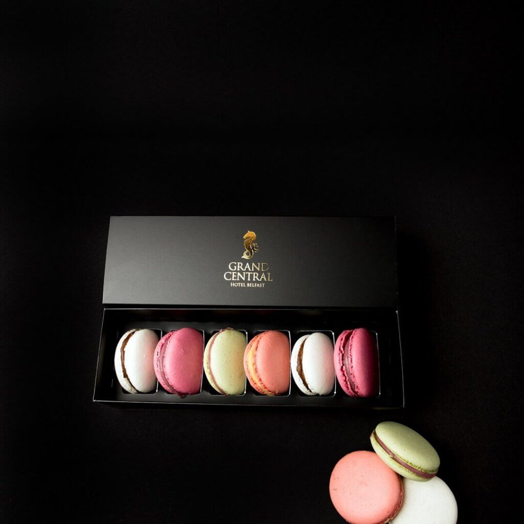 Bespoke Black Print Matt Laminated Board wih Gold Foil 6 Pack Macaron Box