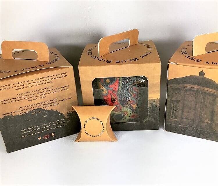 Kraft with Bespoke Print Windowed Small Lantern Box with matching Gift Tag & Pillow Pack