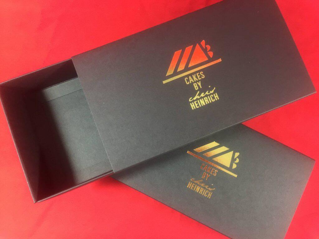 Bespoke Foiling on Black Print Board 12 Pack Macaron Box