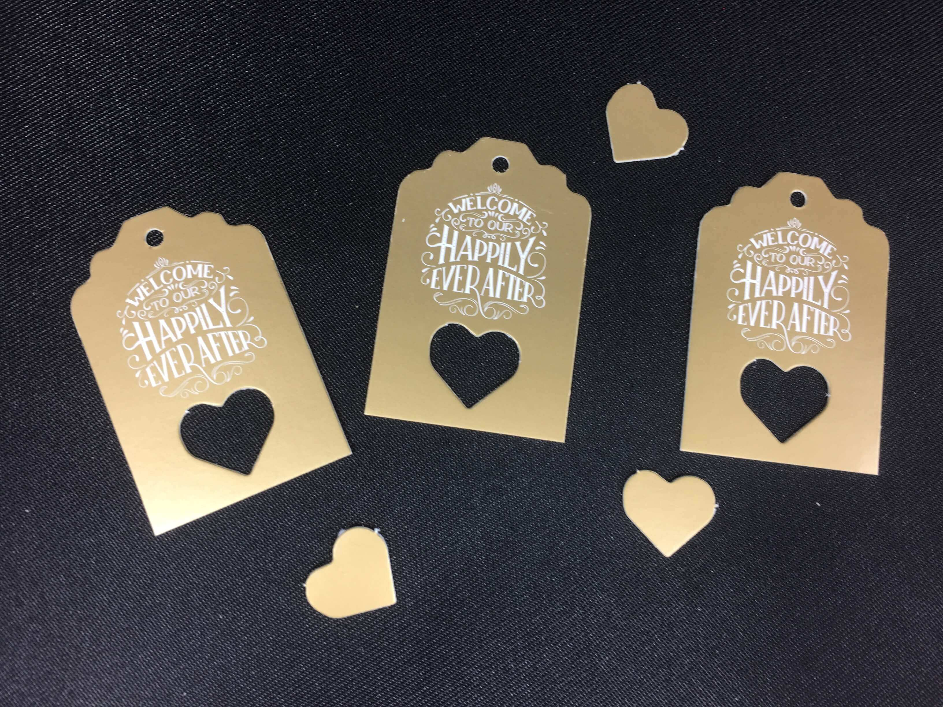 Happily Ever AFter Tags Gold with White Text