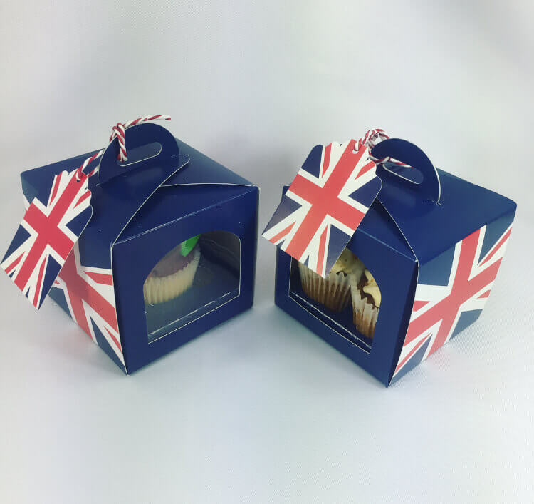 Union Jack Cup Cake Boxes with Tag & Insert