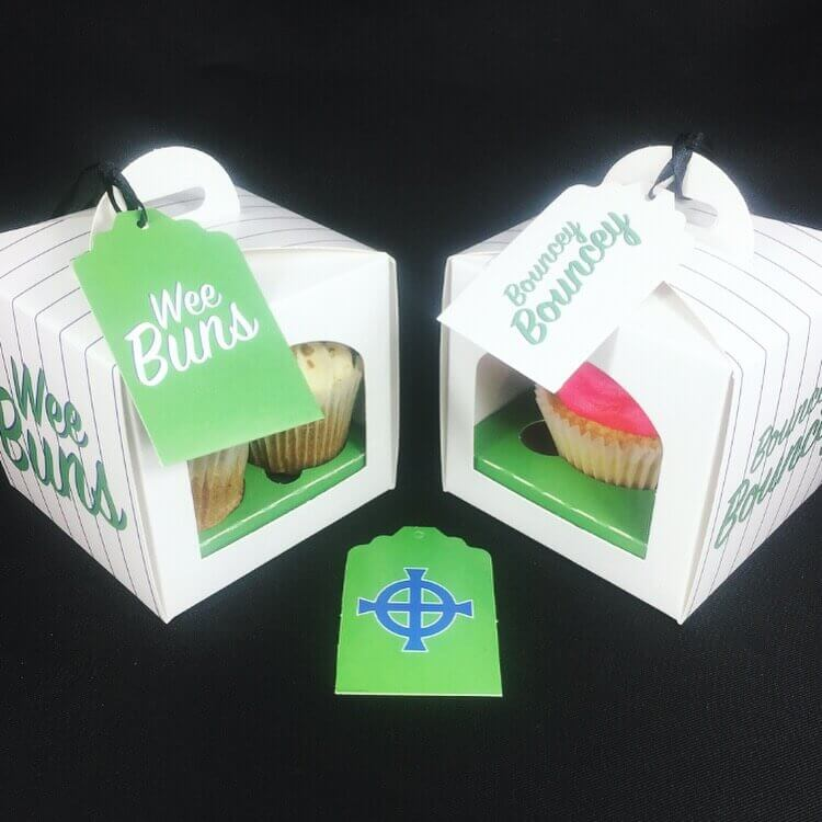 "Northern Ireland Themed ""Wee Buns"" Cup Cake Boxes with insert & tag"