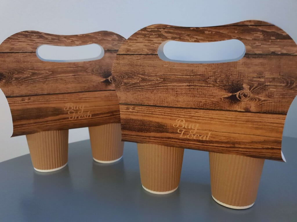 Double Cup Carrier with Buy Fresh Buy Local Wood Effect Print