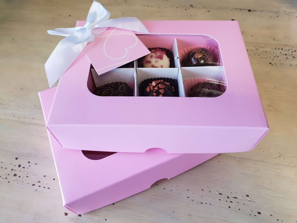 Pink Print Compostable Window Base & Lid 6 Pack Truffle Box with insert