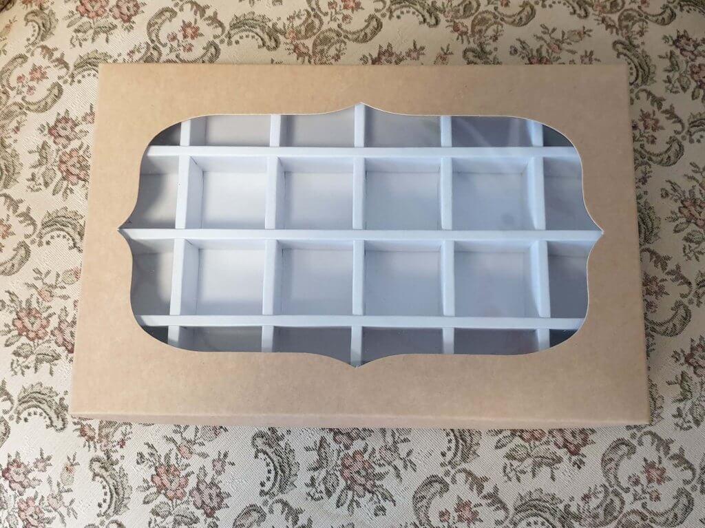 Kraft Windowed 24 Pack Truffle Box with white insert
