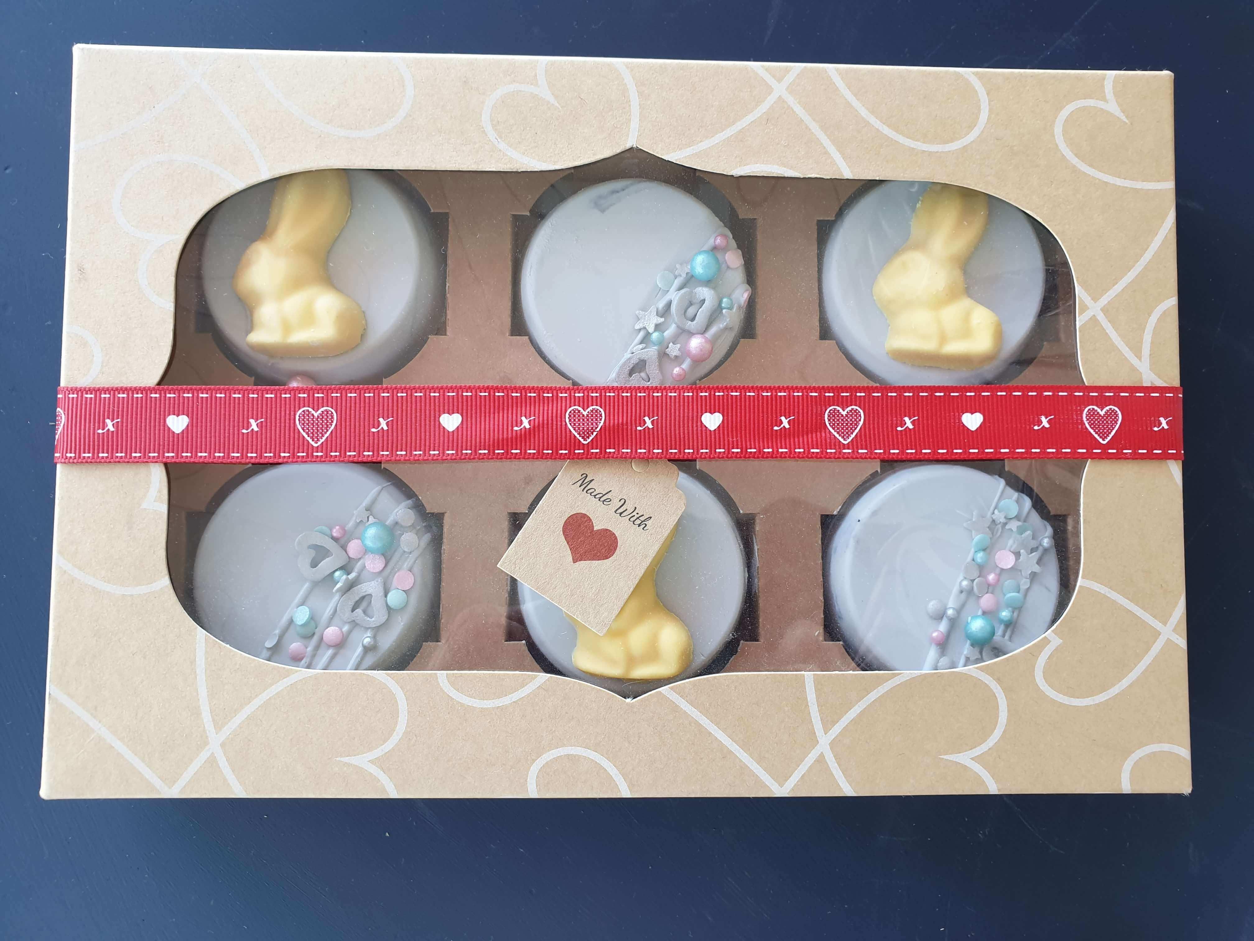 6 Pack Oreo Box with Windowed Kraft Stock Print Lid