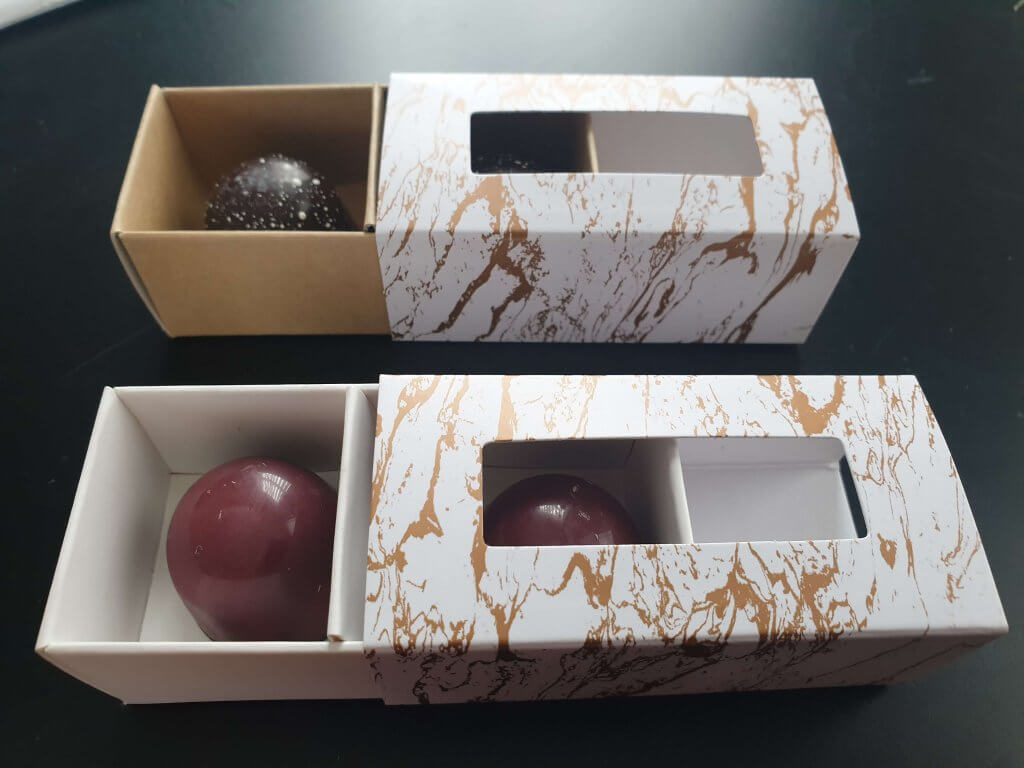 2 Pack Truffle Box in Rose Gold Marble Effect Print (Also available in Silver)