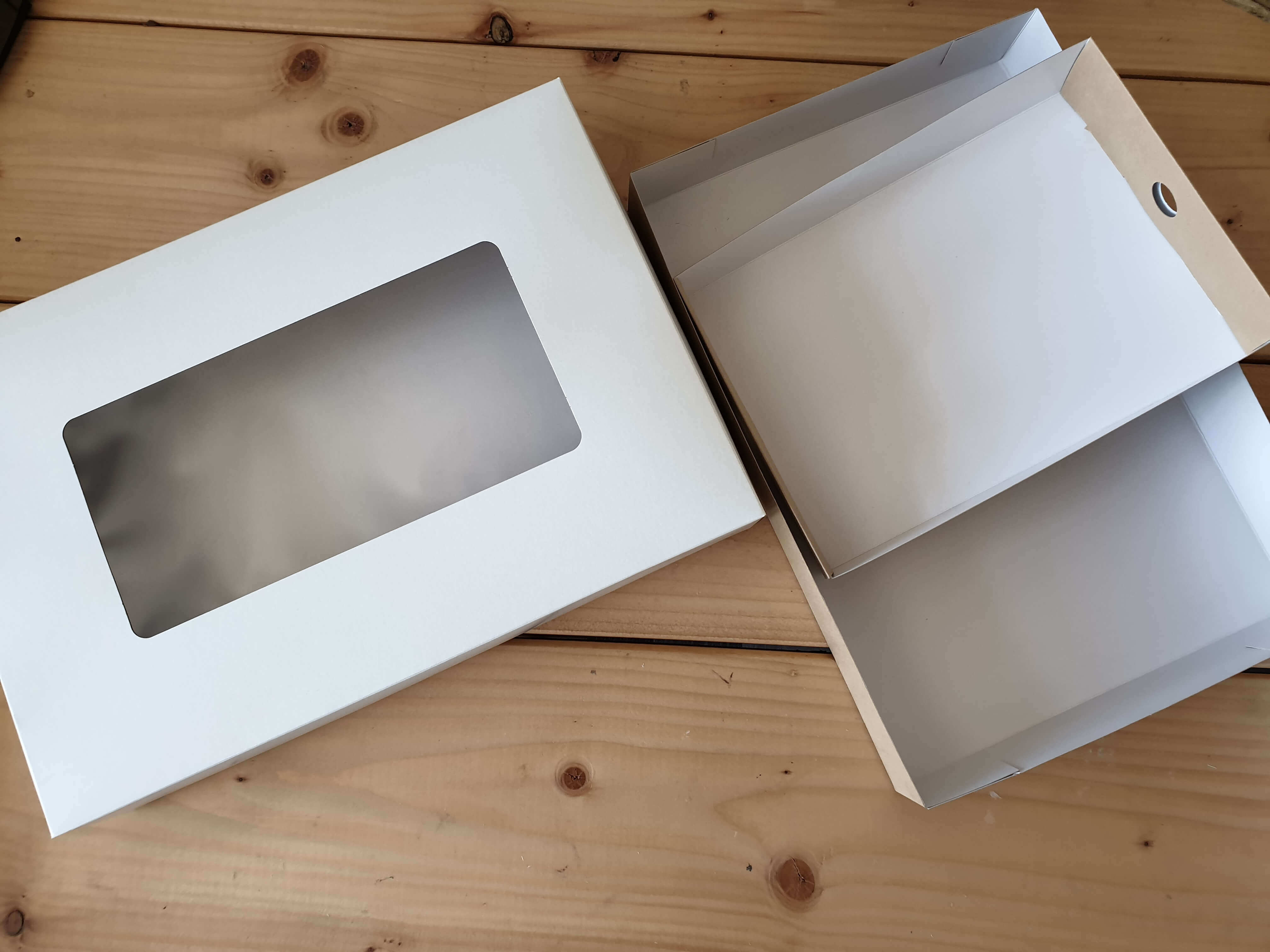 White Windowed Large Platter Box with Full Tray, Half Tray also available