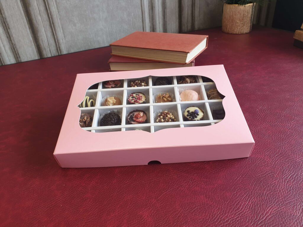 24 Pack Stock Print Base & Lid Truffle/Chocolate Box with Insert