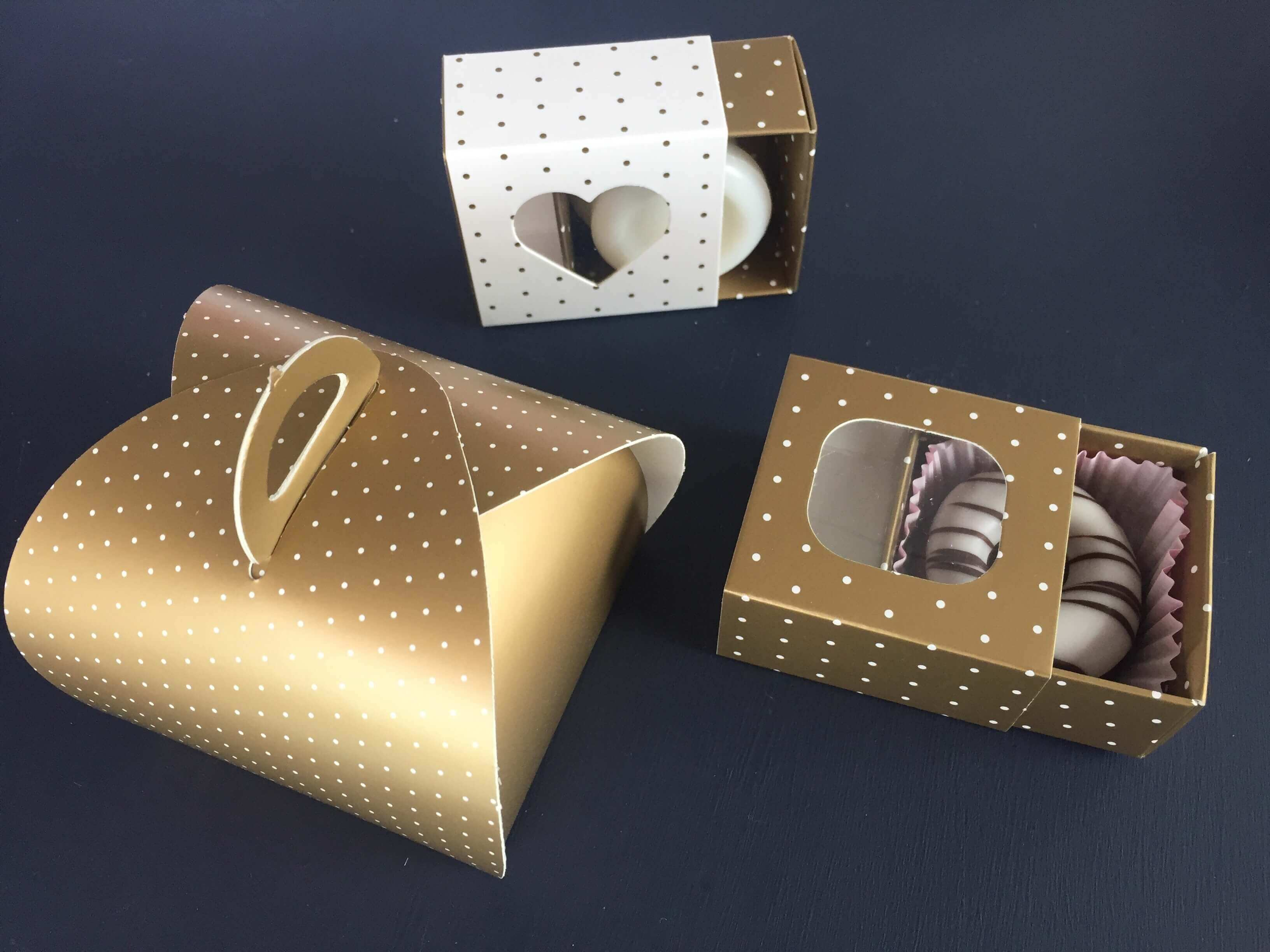 Gold / White Dotty Pattern small Patisserie & Slider Favour Boxes