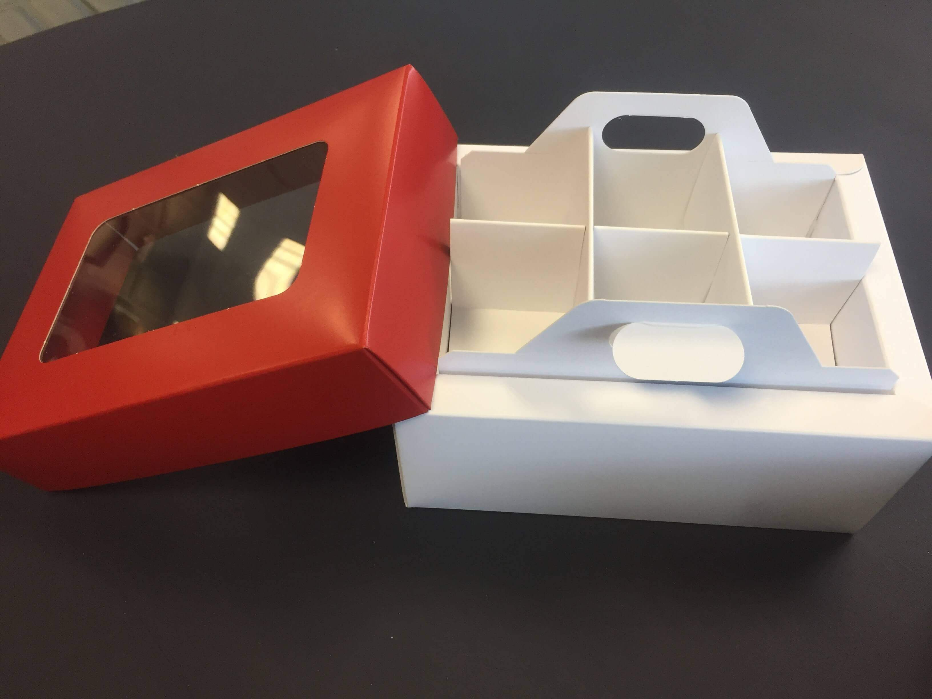 Base & Lid 6 Mini Cup Cake / Cake Box With lift out Insert