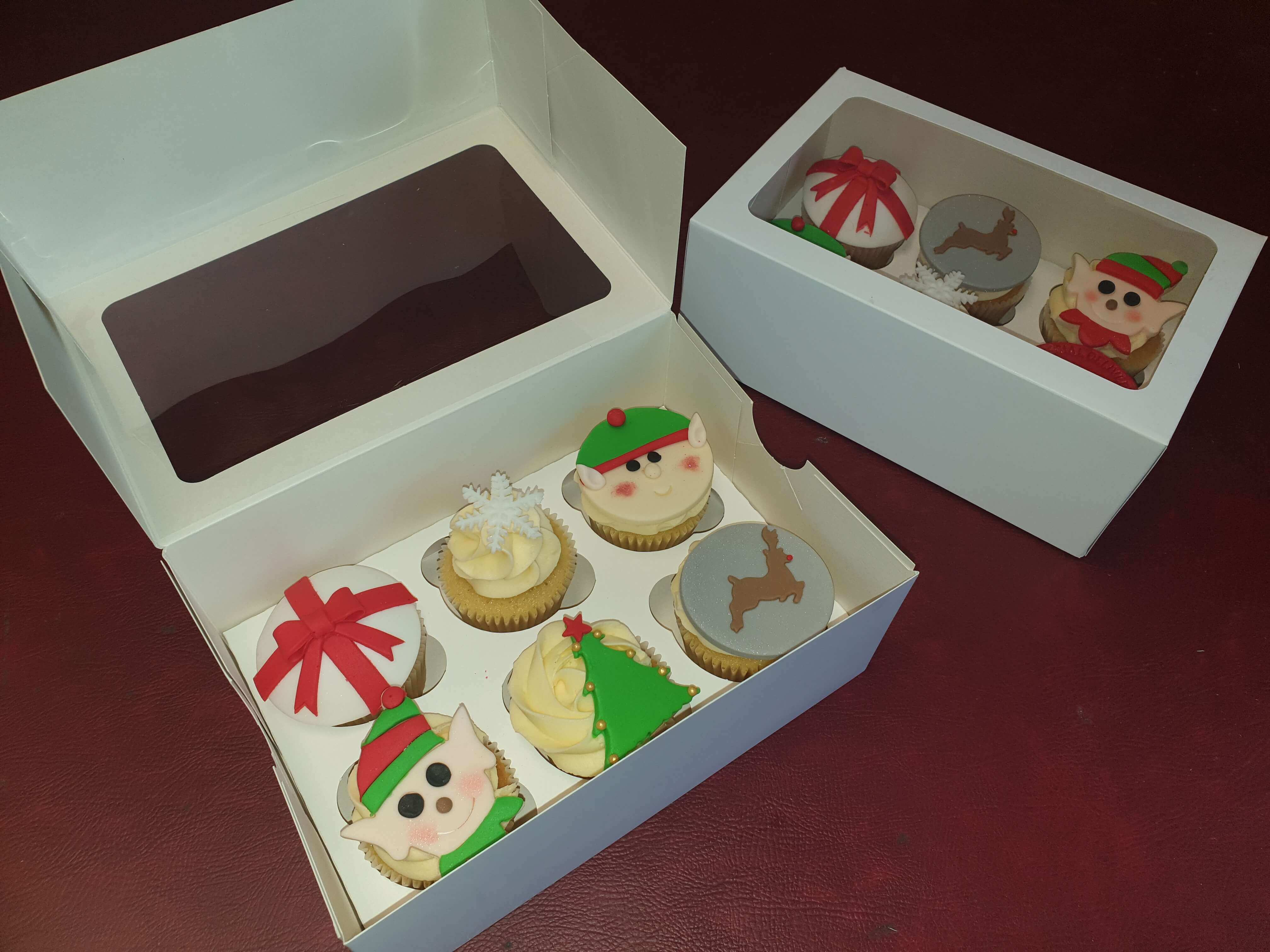 White Windowed Hinged Lid 6 Pack Cup Cake Box