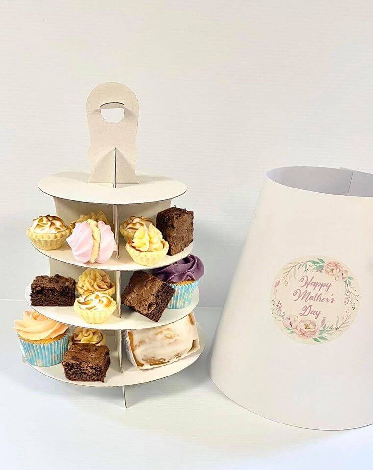 Plain White Hood (Stcker label not supplied) 4 tier AFernoon Tea Take Home Caddy