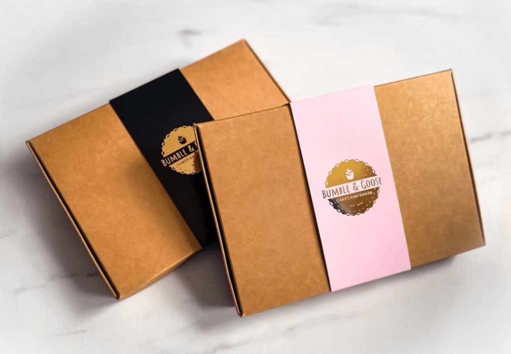 Postal Cookie Box with brand Print & Foiled Sleeve