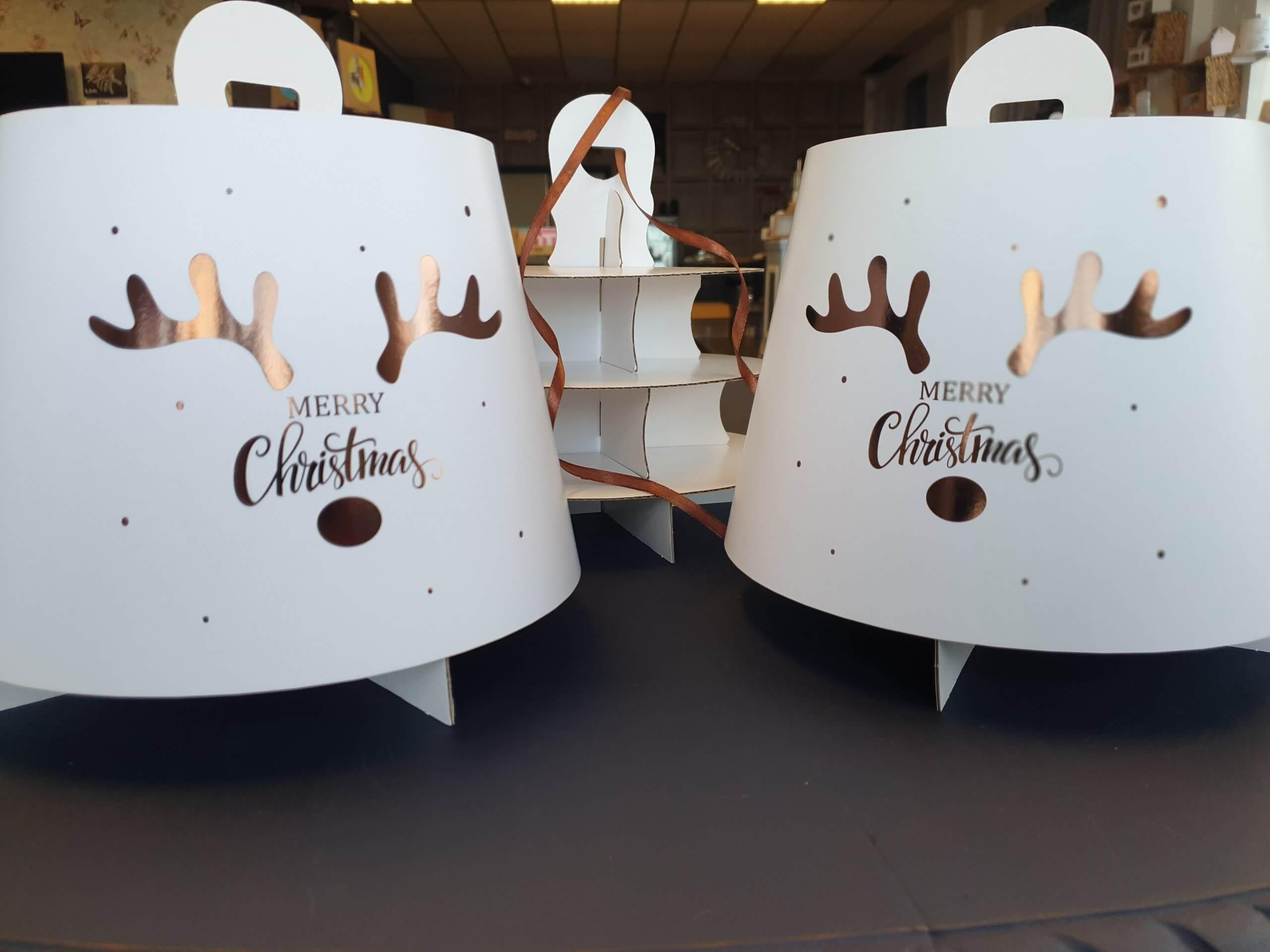 Hot Foil Christmas Antler Design 3 Tier Afternoon Tea Caddy