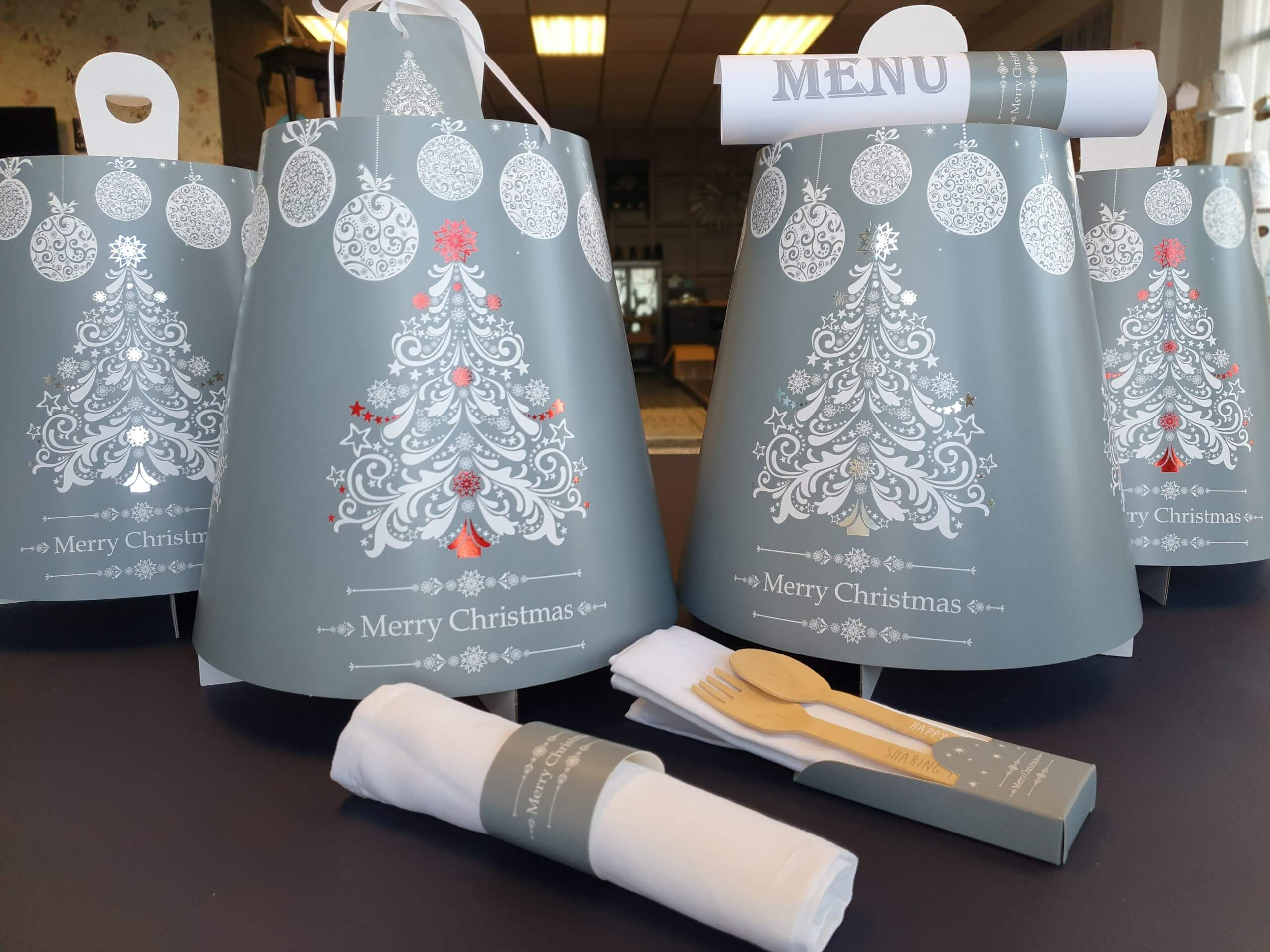 4 Tier Tea Caddy Christmas Tree Print & Hot Foil
