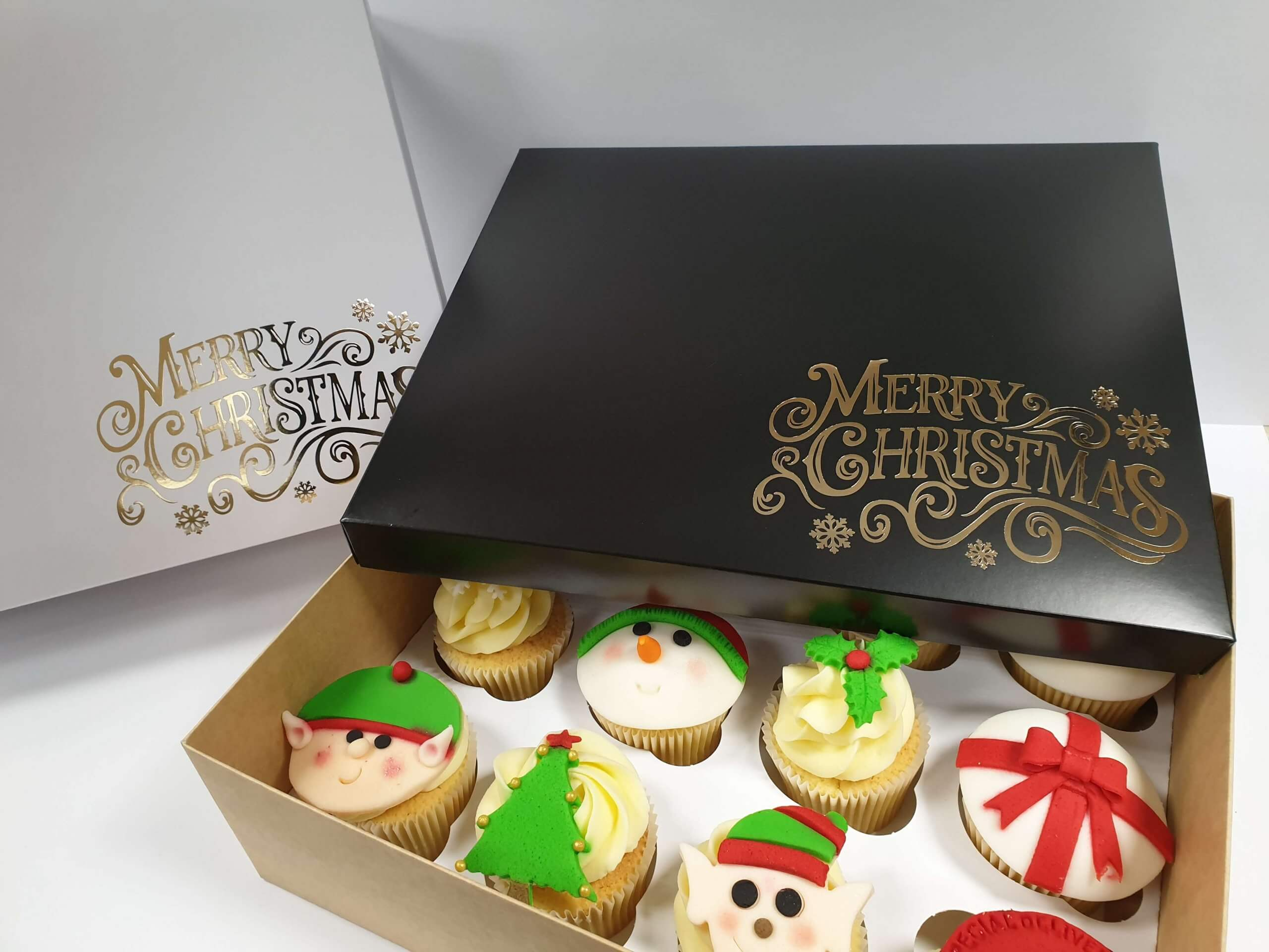 Christmas Foiled Hamper Box with 12 cupcake insert