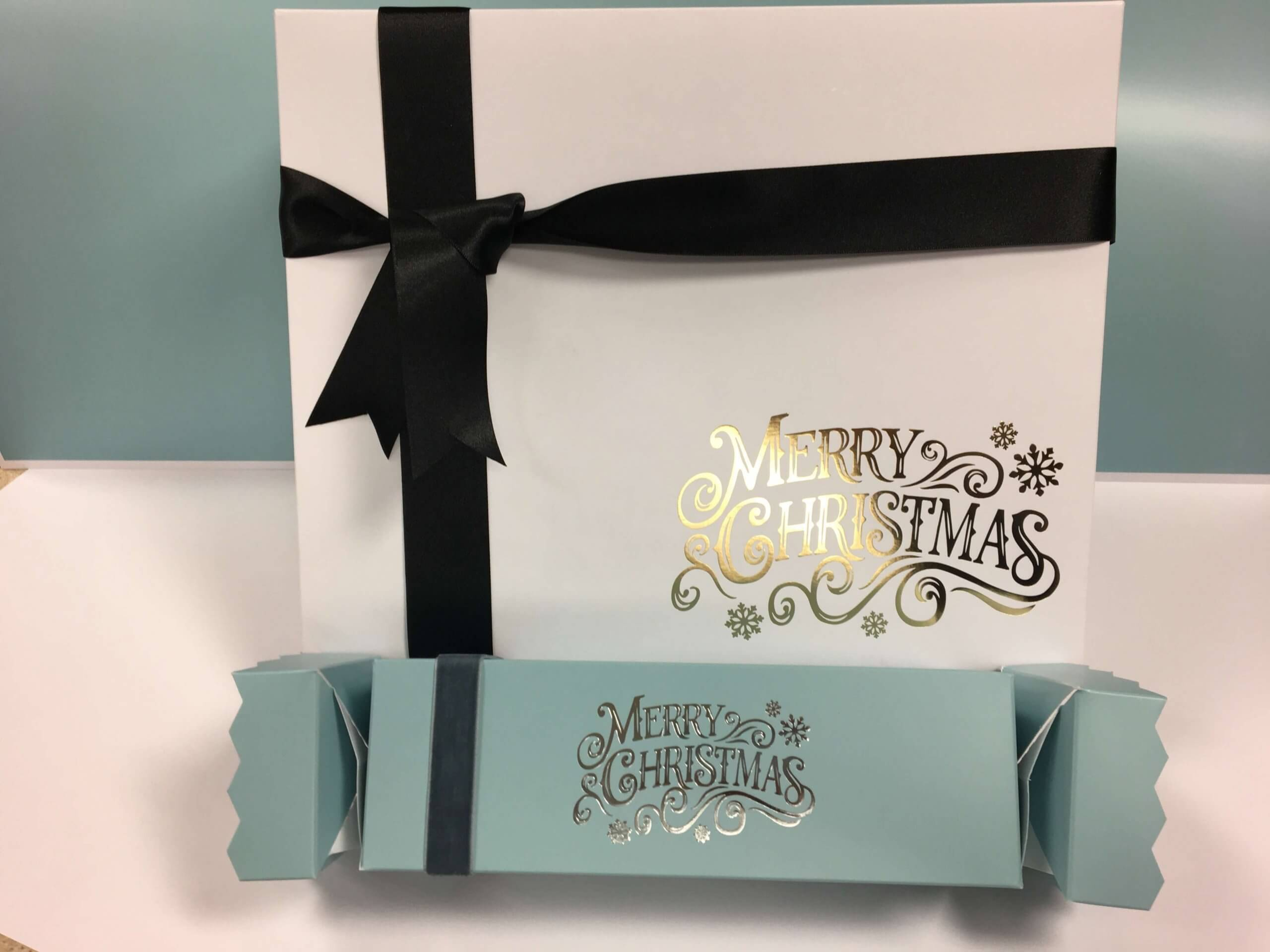 Christmas Foiled Hamper Box & Crackers