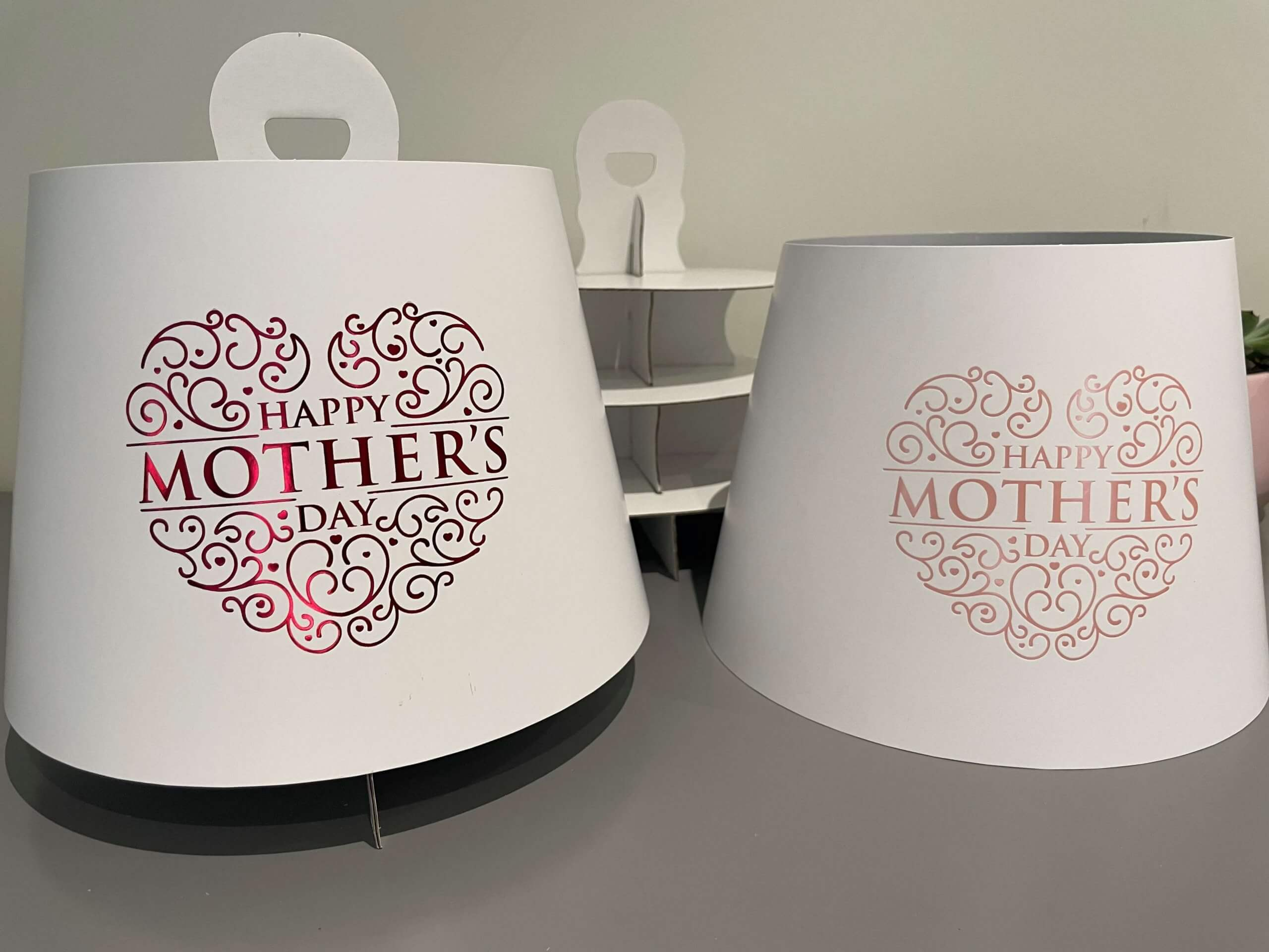 Mothers Day Hot Foiled 3 Tier Afternoon Tea Caddy's