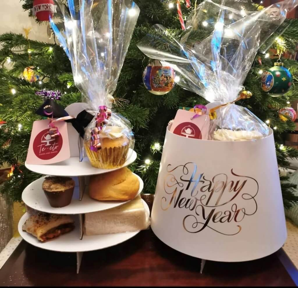 3 Tier Happy New Year Foiled Afternoon Tea Caddy