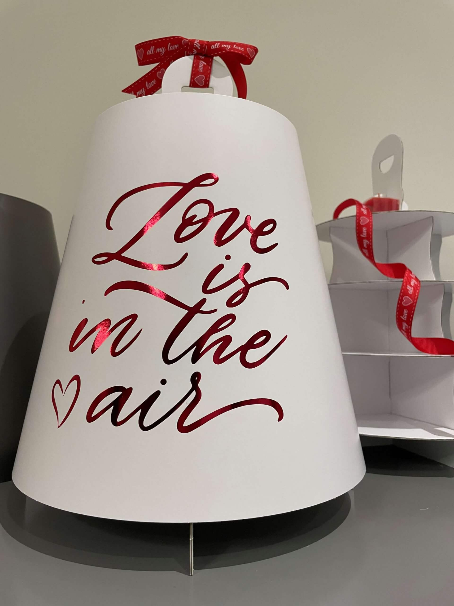 Love Is In The Air White 4 Tier Red Foiled Caddy