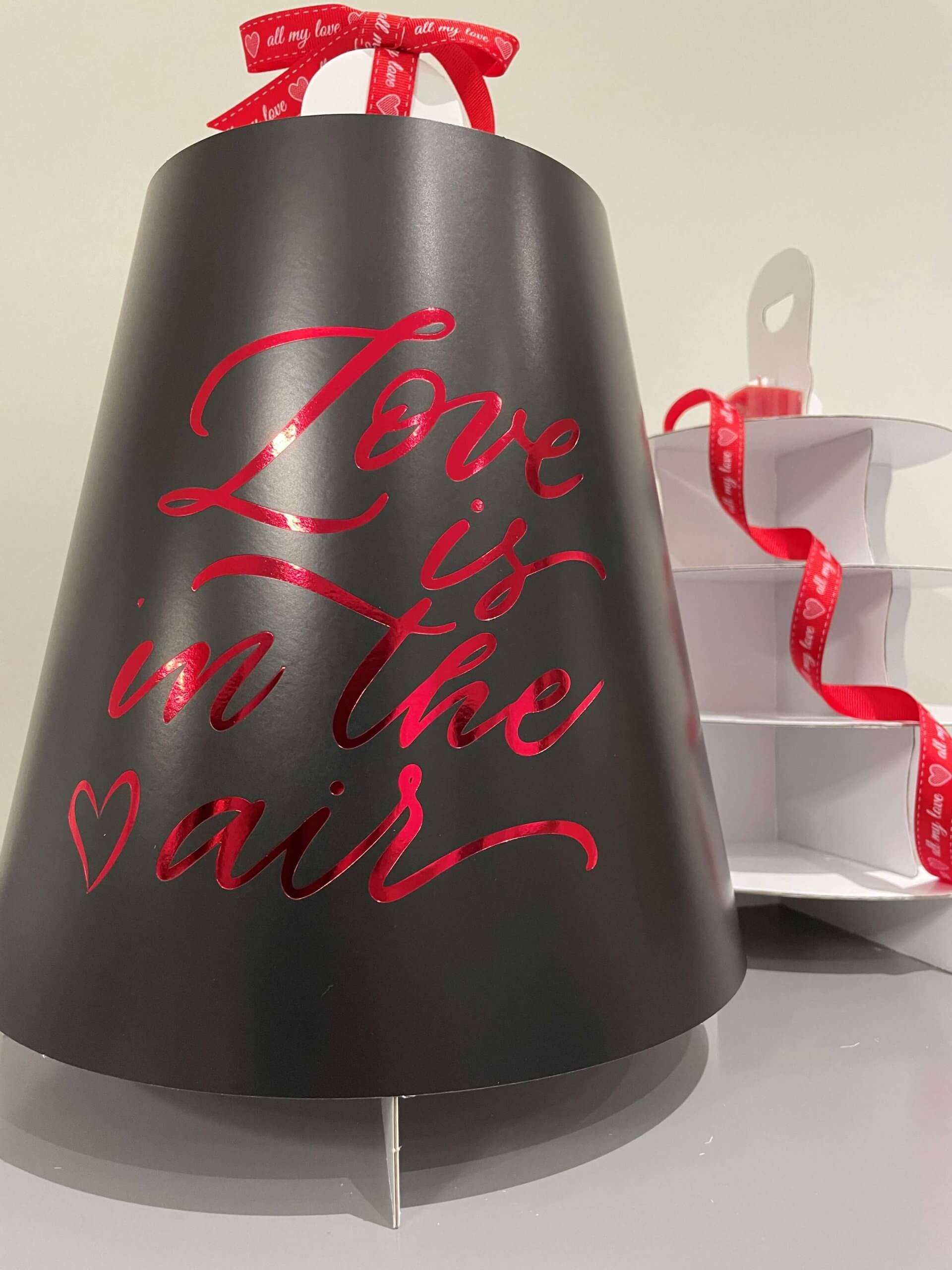 Love Is In The Air  4 Tier Black Print & Red Foiled Caddy