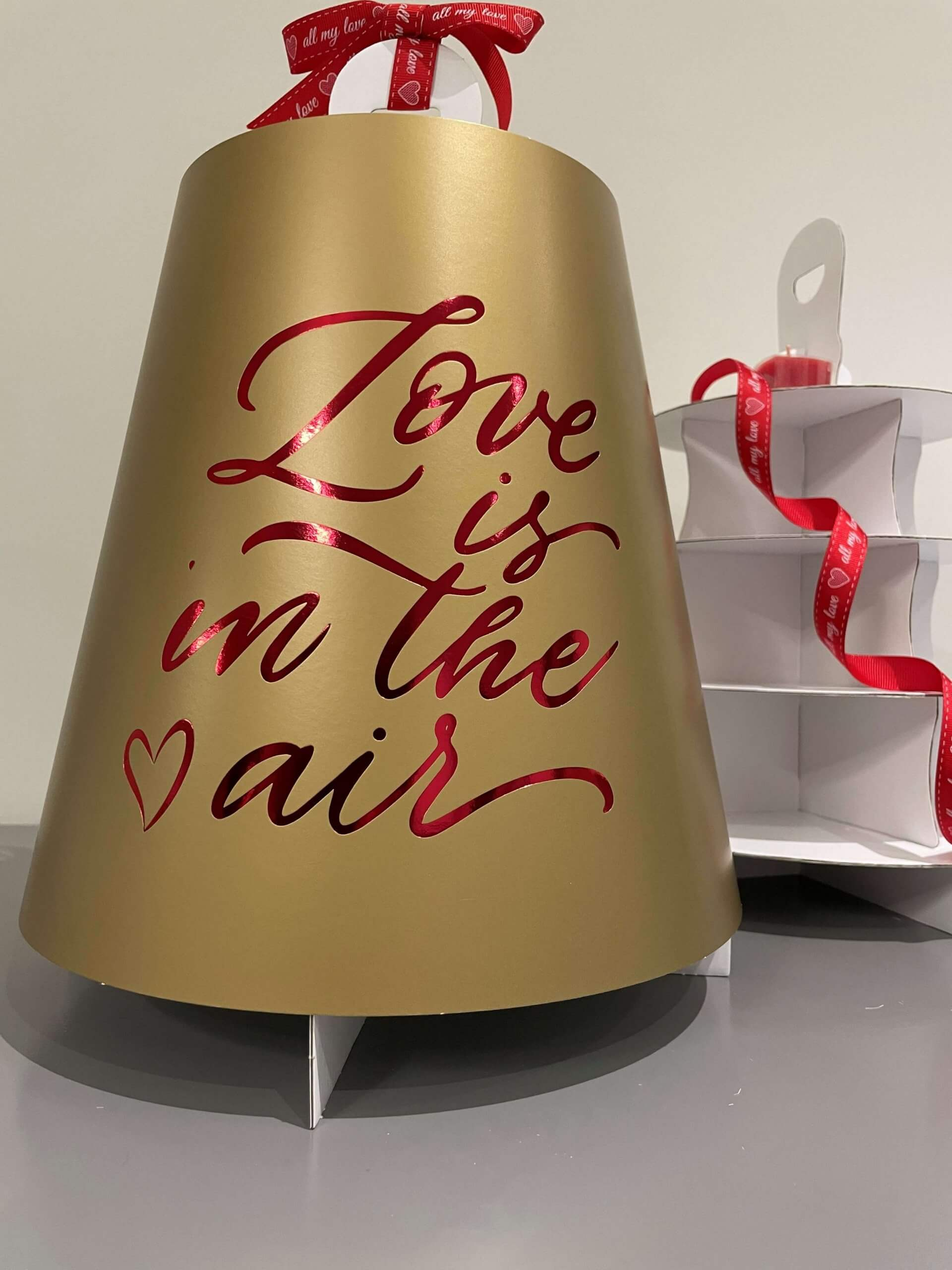 Love Is In The Air  4 Tier Gold Print & Red Foiled Caddy