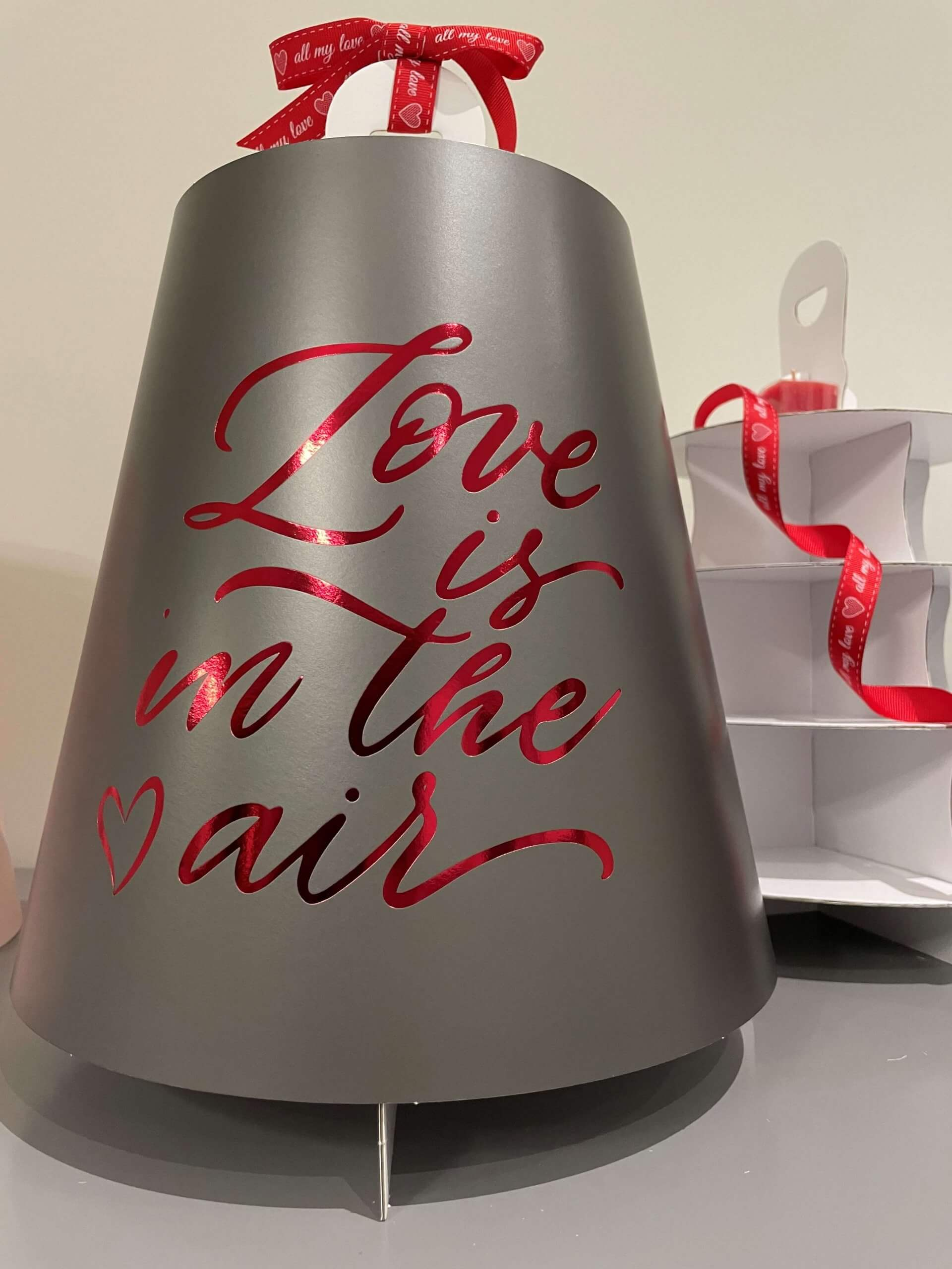 Love Is In The Air  4 Tier Grey Print & Red Foiled Caddy