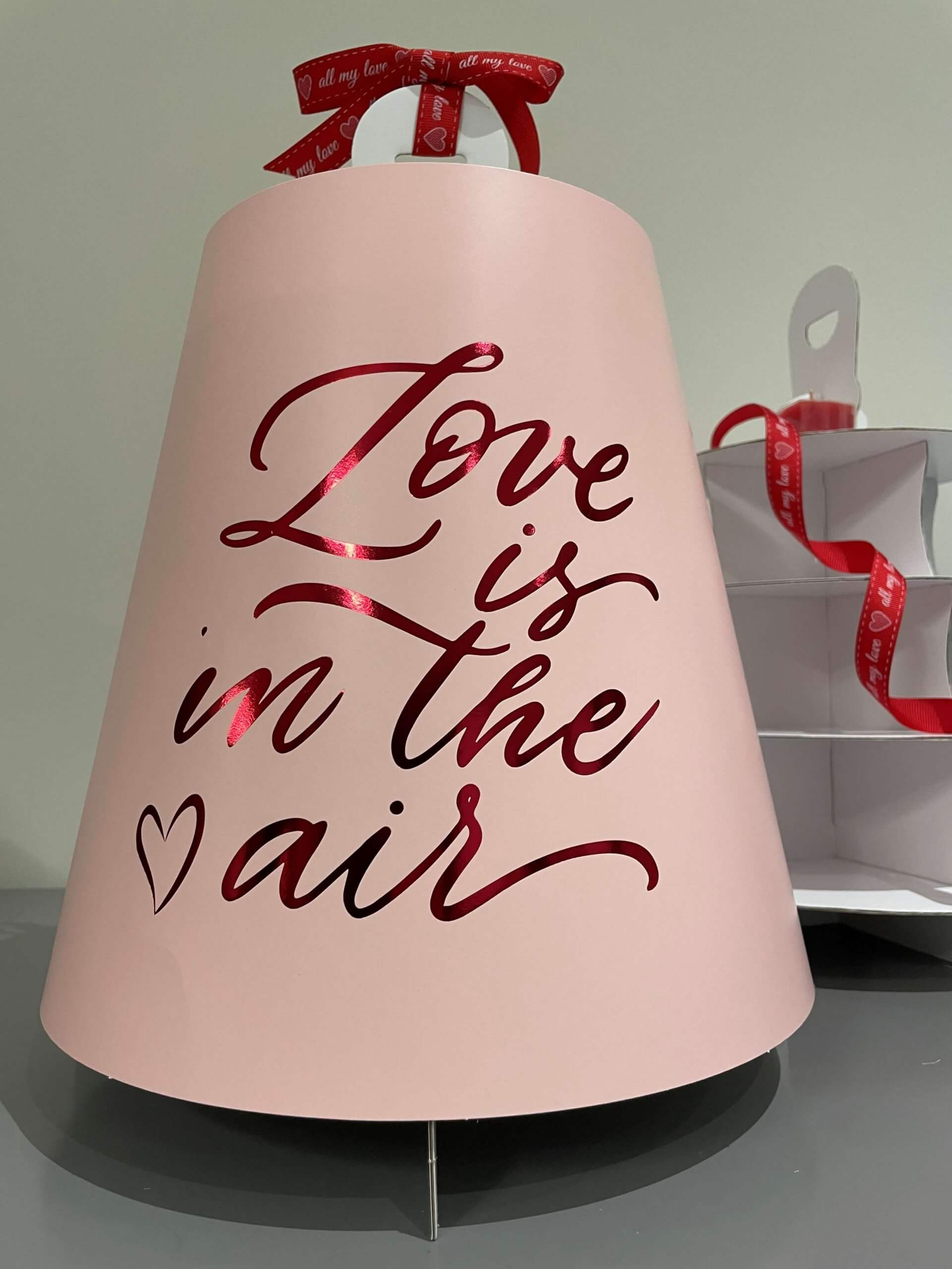 Love Is In The Air  4 Tier Pink Print & Red Foiled Caddy