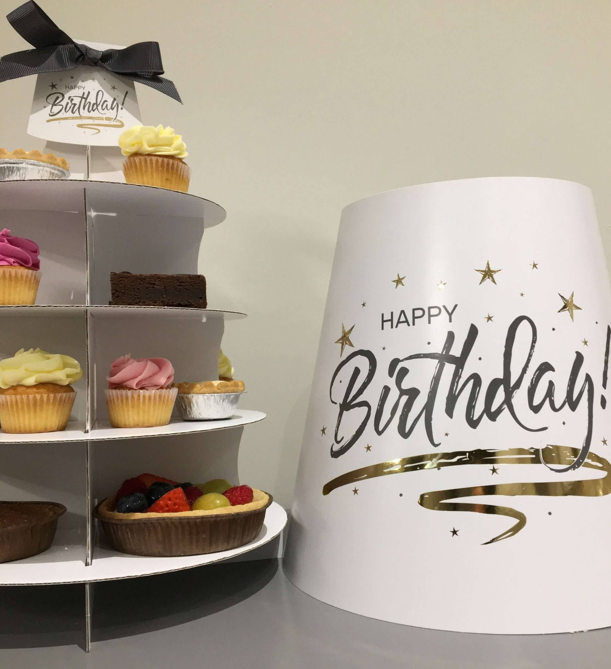 Generic Print & Hot Foil Happy Birthday 4 Tier Afternoon Tea Caddy